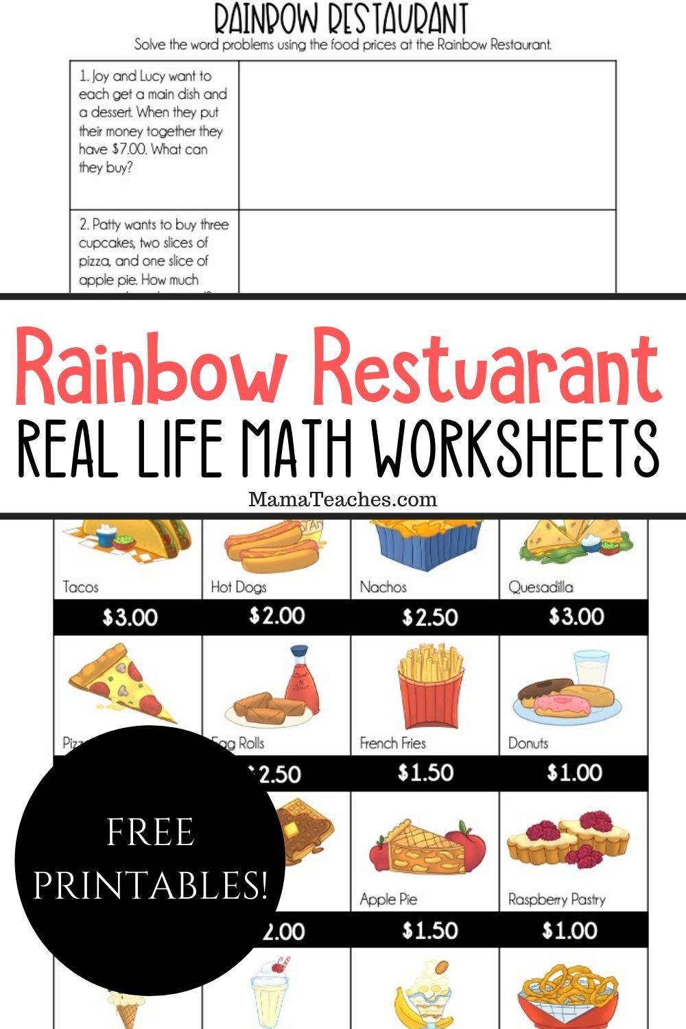 Restaurant Math Worksheets Real Life Math Rainbow Restaurant