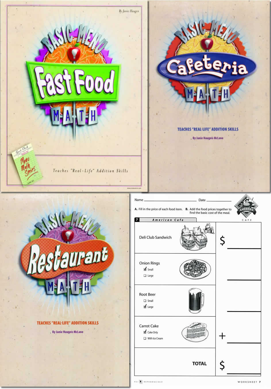 Restaurant Menu Math Worksheets Basic Menu Math