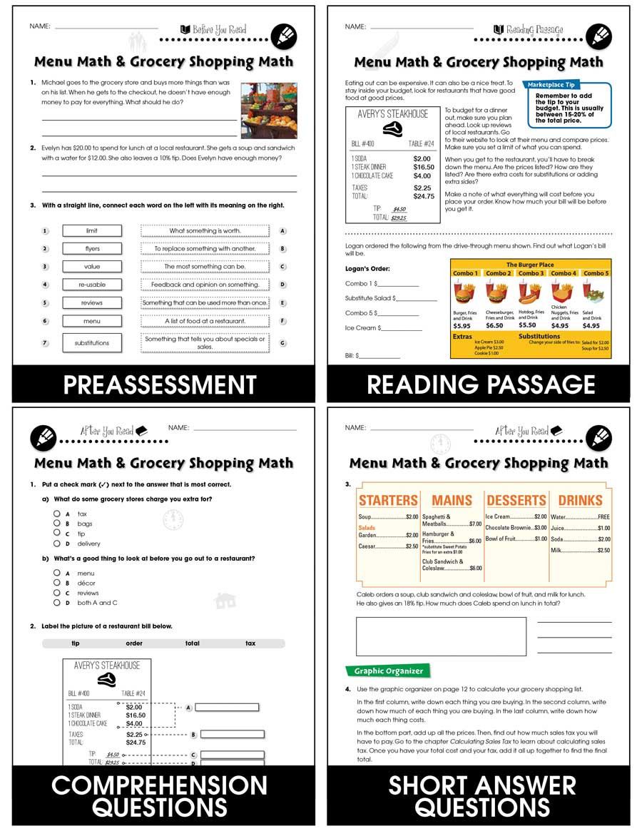 Restaurant Menu Math Worksheets Daily Marketplace Skills Menu Math and Grocery Shopping
