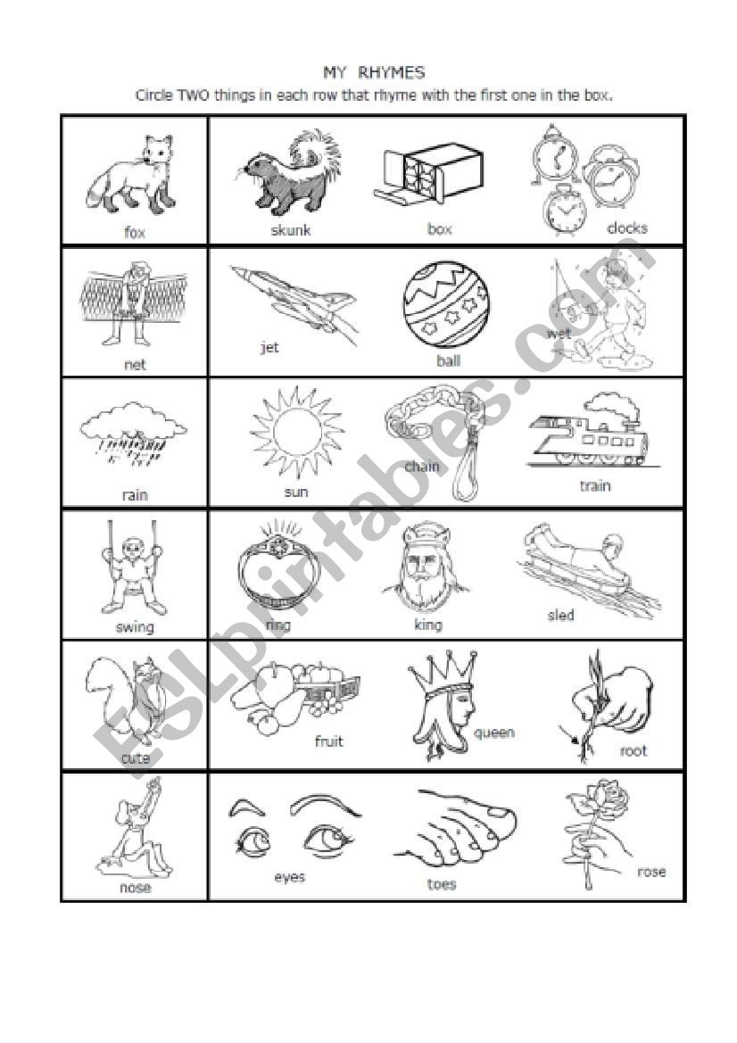 Rhyming Worksheets 1st Grade 1 Syllable Rhymes 1st Grade Esl Worksheet by Nwagdy