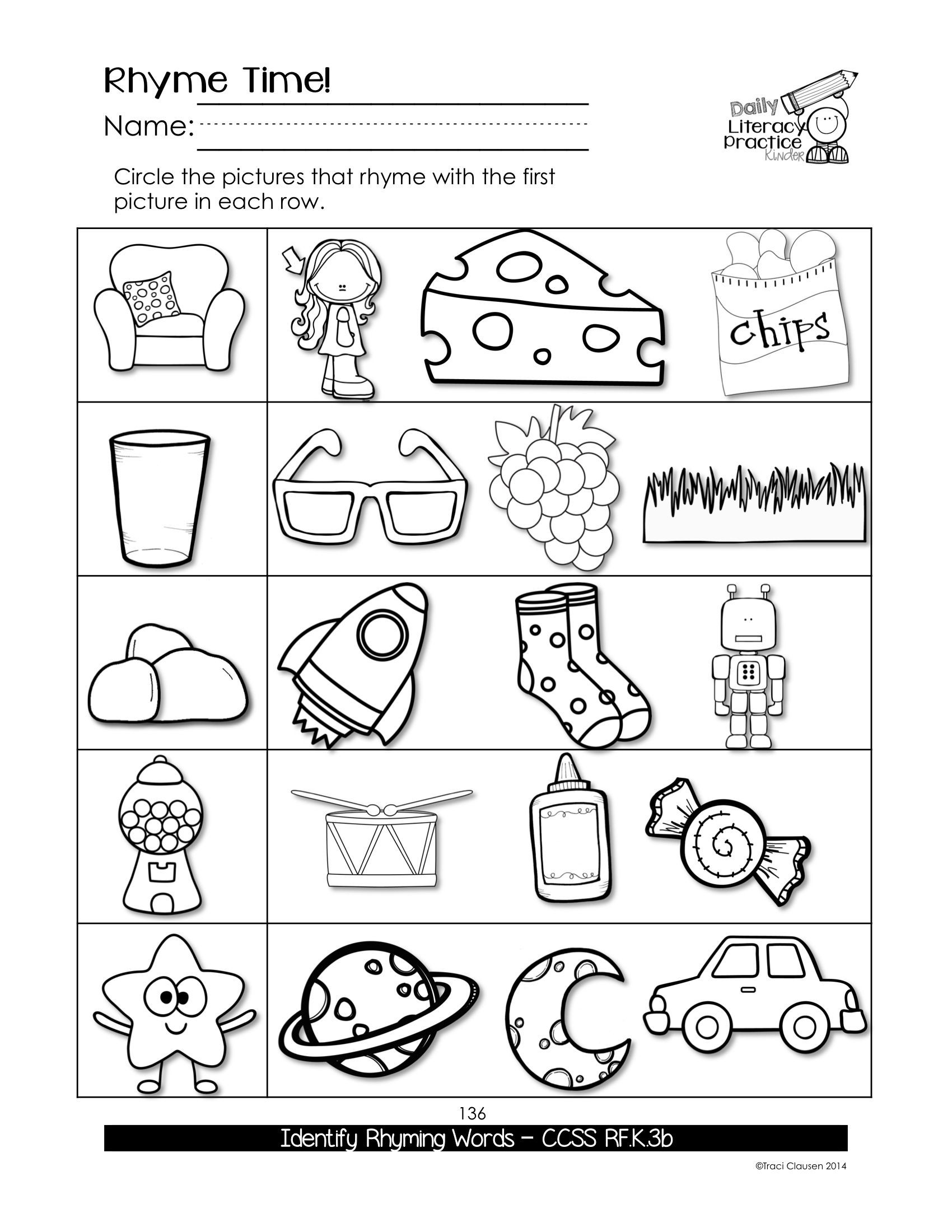 Rhyming Worksheets 1st Grade Kindergarten Phonics & Sight Words Practice Daily Literacy