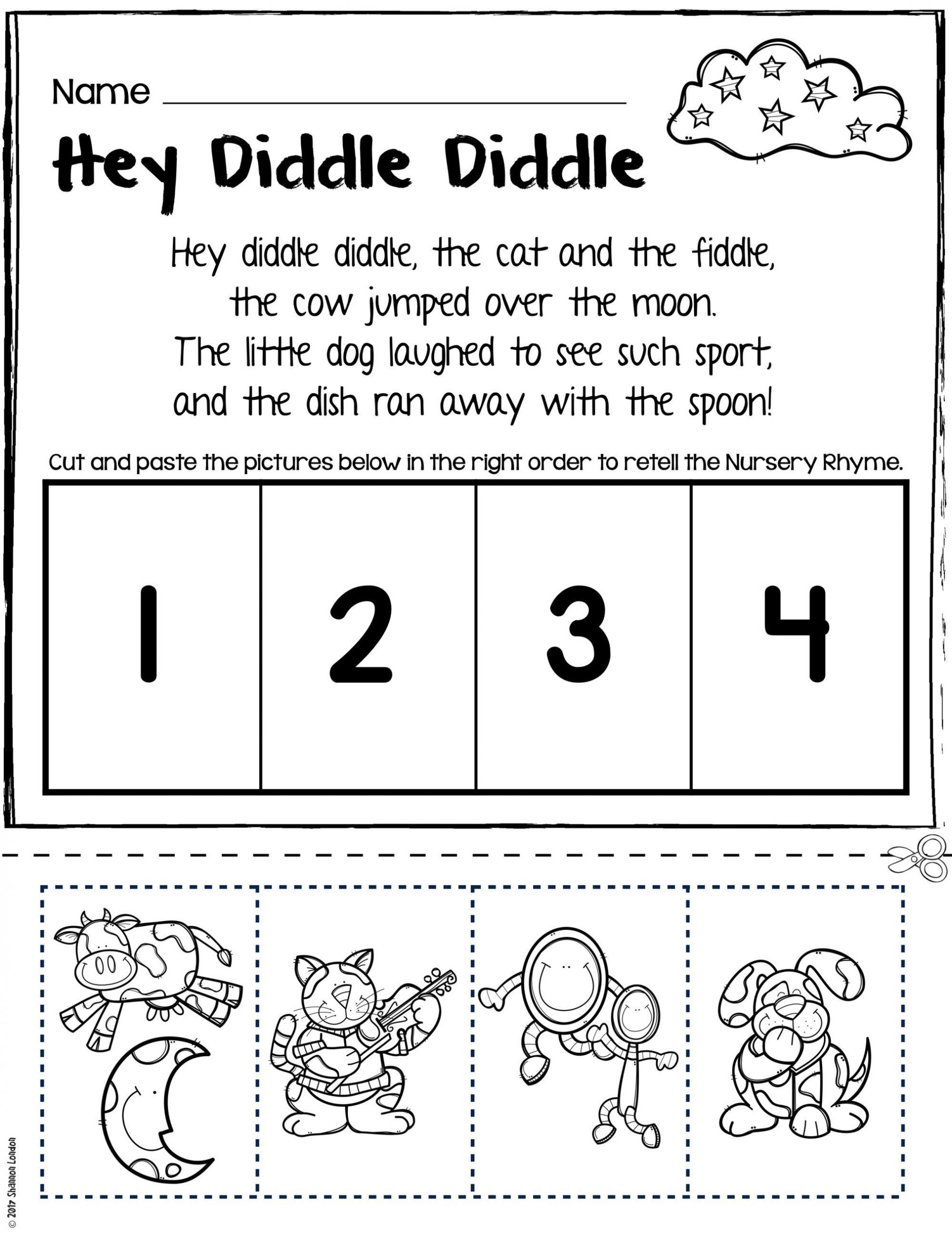 Rhyming Worksheets 1st Grade Nursery Rhymes Worksheets for Story Retelling Practice
