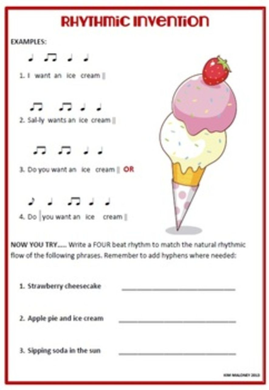 Rhythm Worksheets for Middle School Freebie