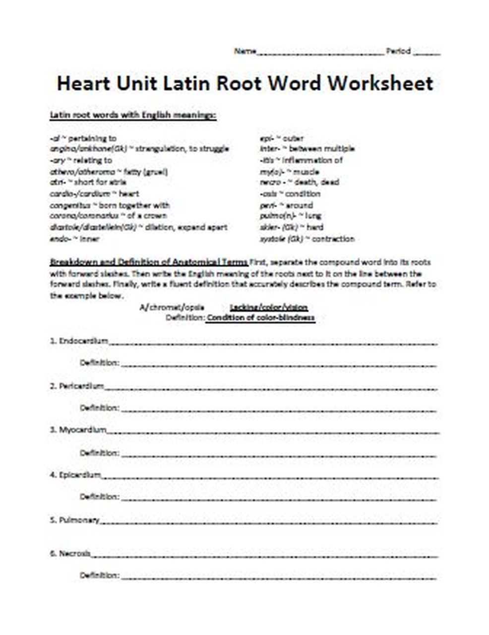 Root Word Worksheets Middle School Heart Unit Latin Root Word Worksheet Free Amped Up Learning