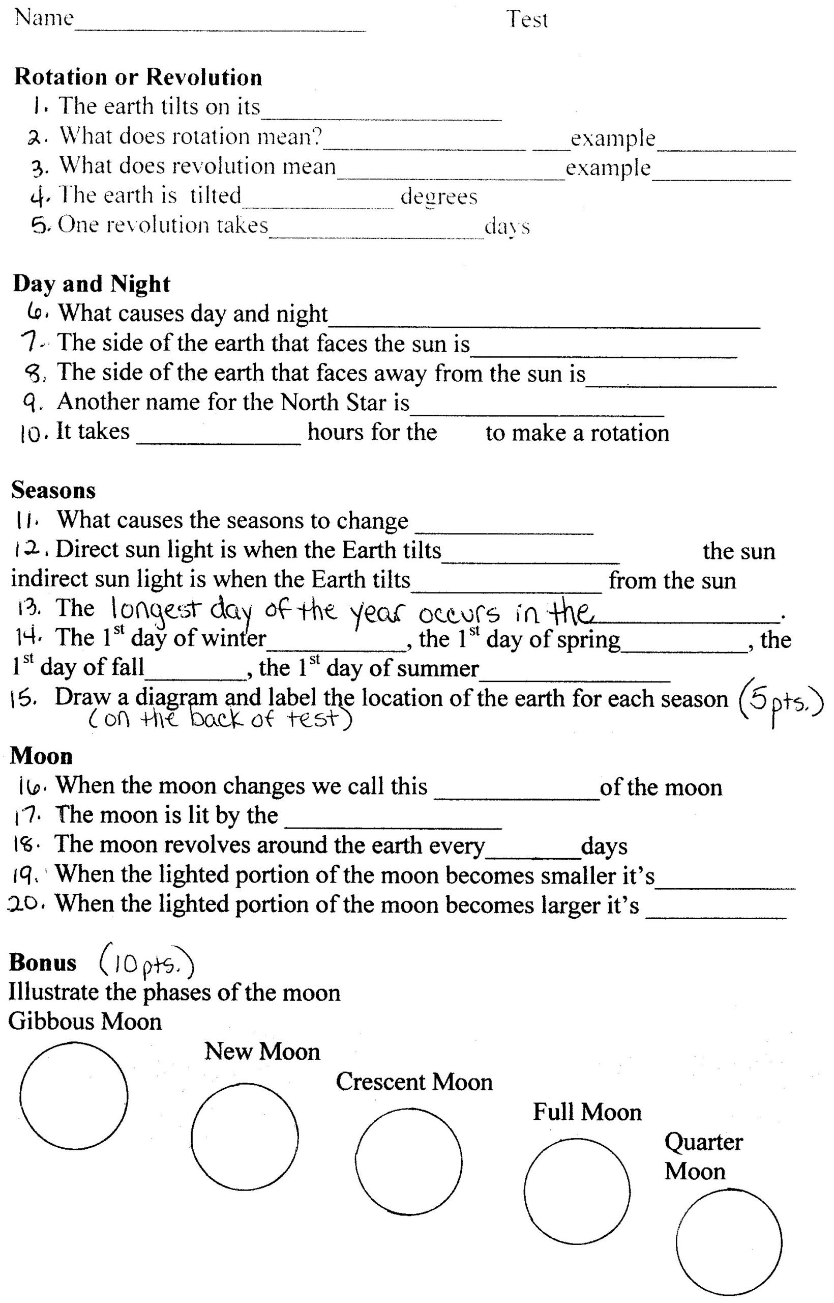 Rotations Worksheet 8th Grade Earth Science astronomy Worksheets astronomytest Practice