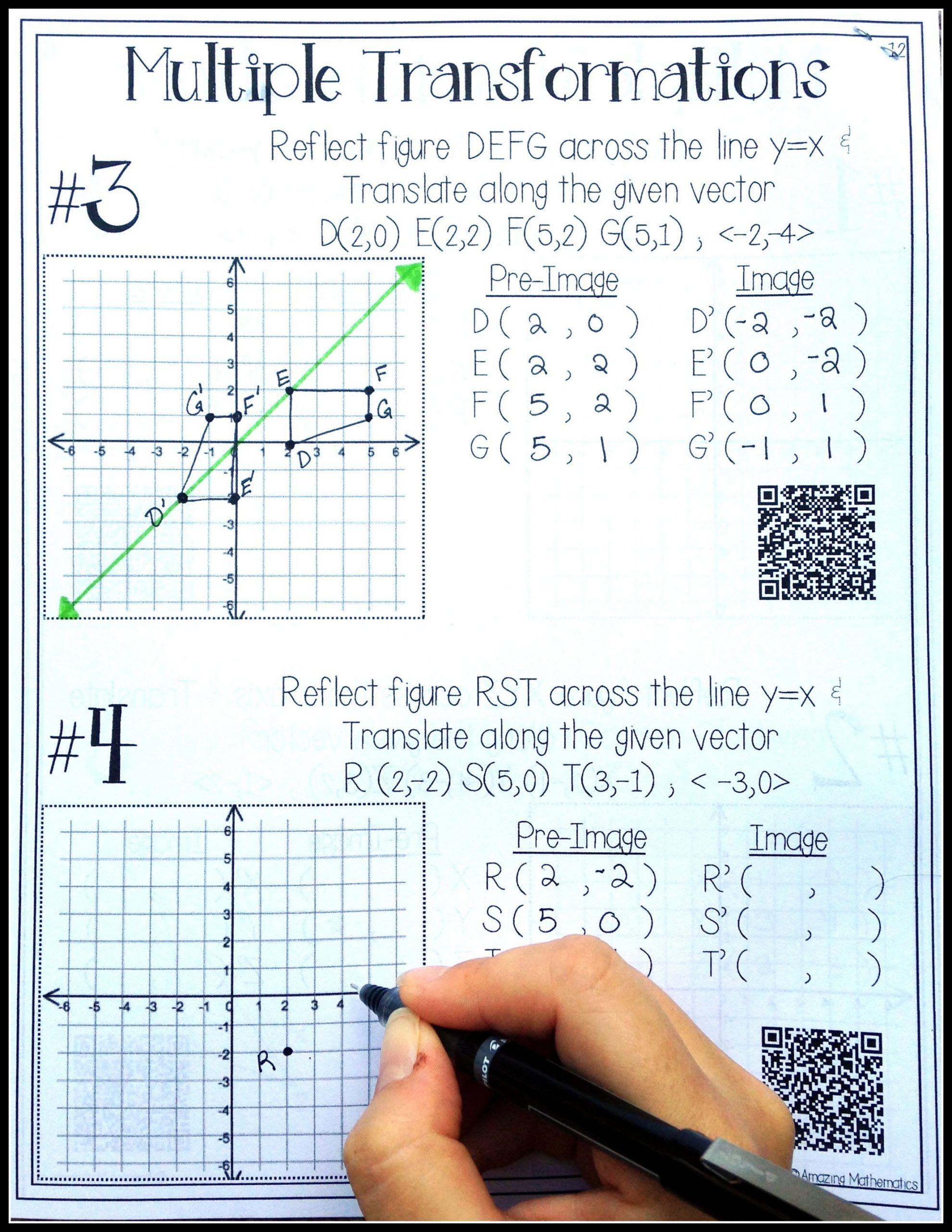 Rotations Worksheet 8th Grade Hs Geometry Transformations Workbook Translations