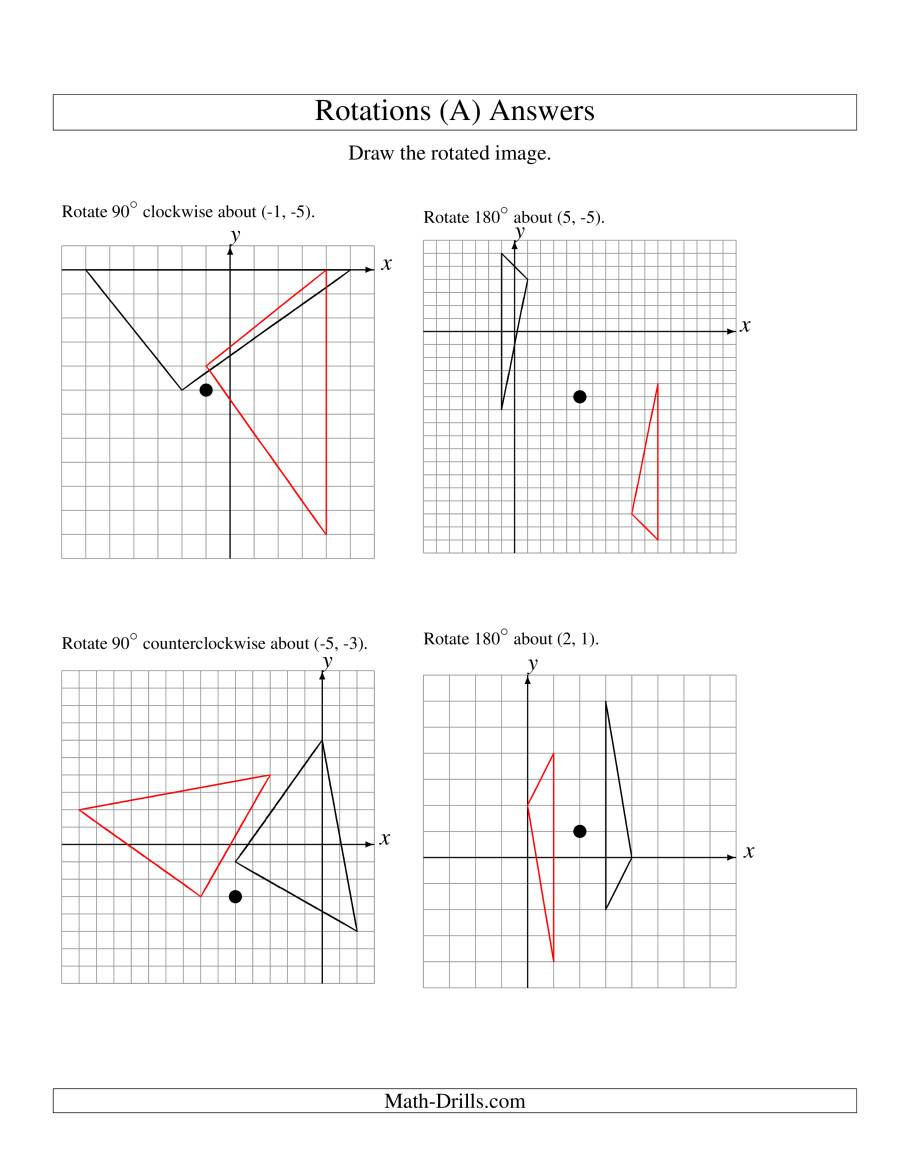 Rotations Worksheet 8th Grade Rotation Of 3 Vertices Around Any Point A
