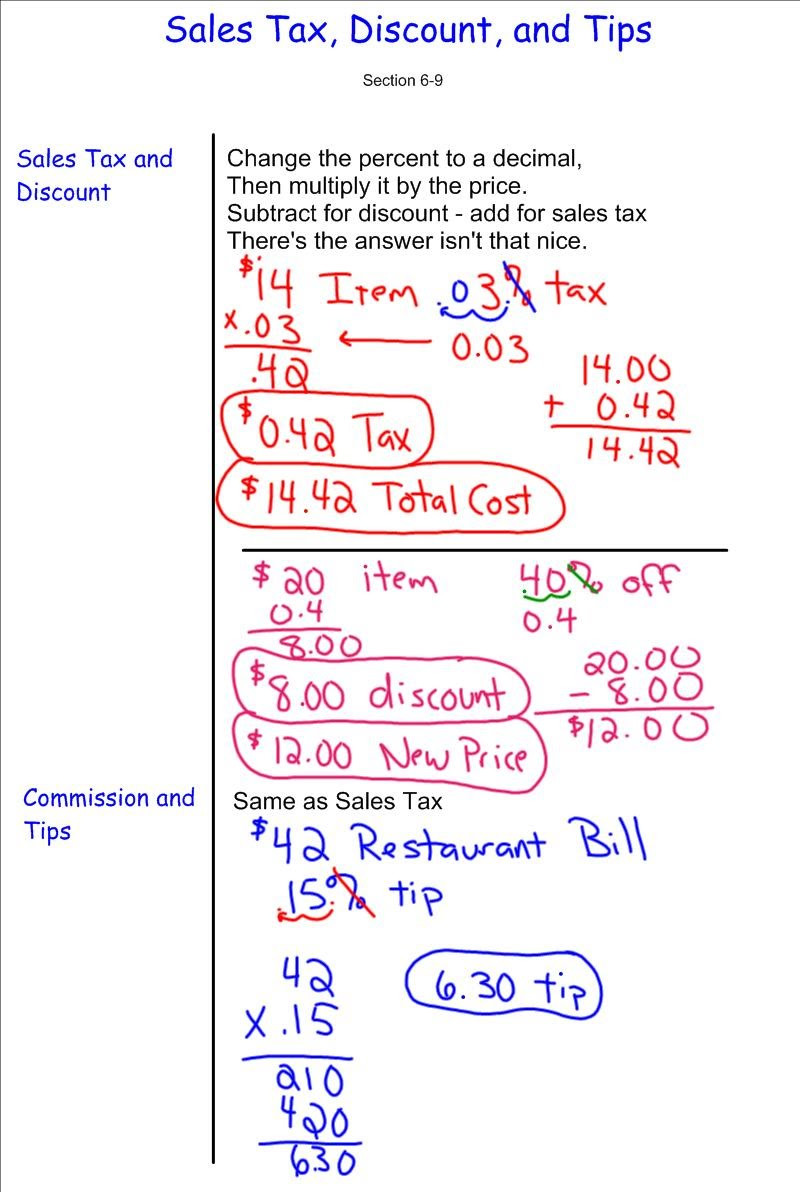 Sales Tax Worksheet 7th Grade Discount Sales Tax Tip 7th Grade Pre Algebra Mr Burnett