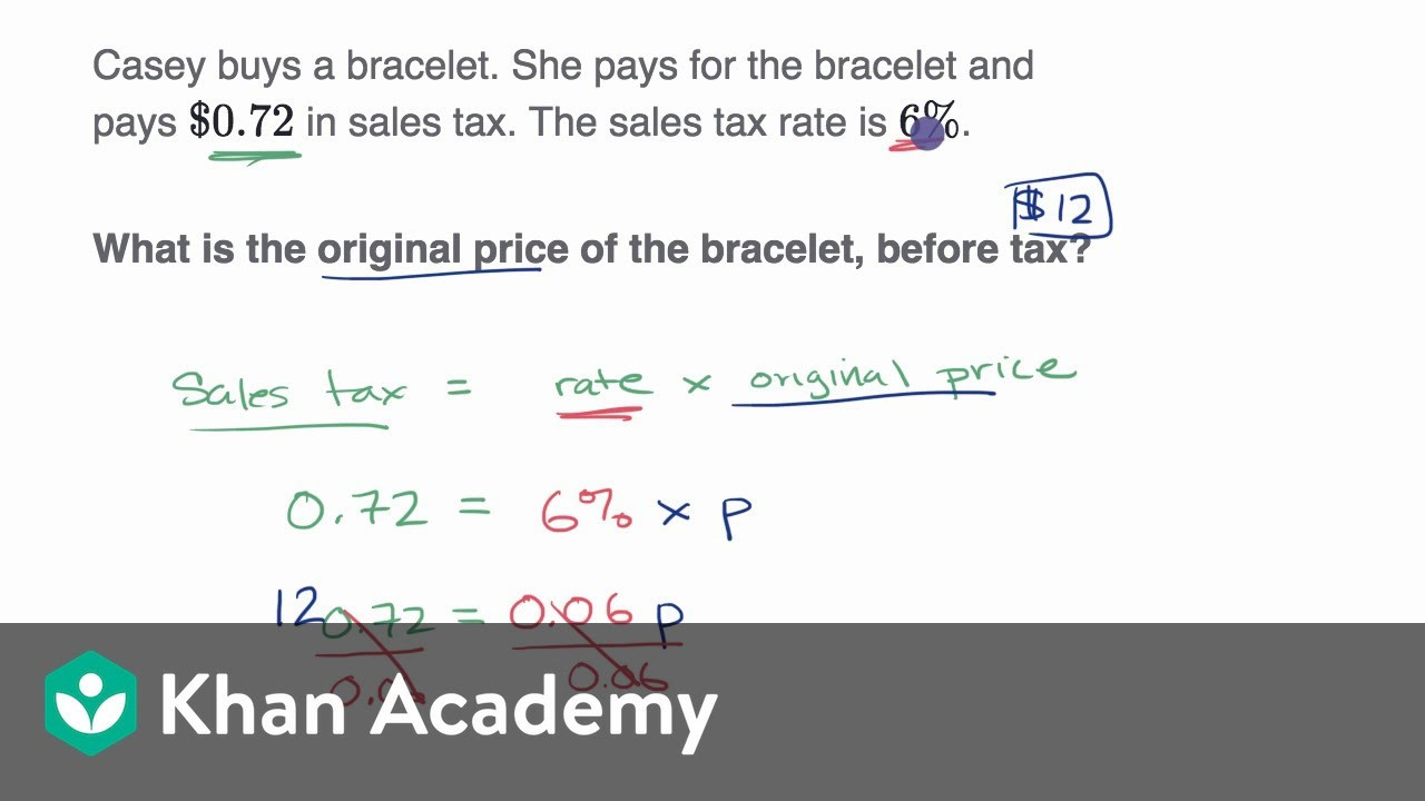 Sales Tax Worksheet 7th Grade Percent Word Problems Tax and Discount Video