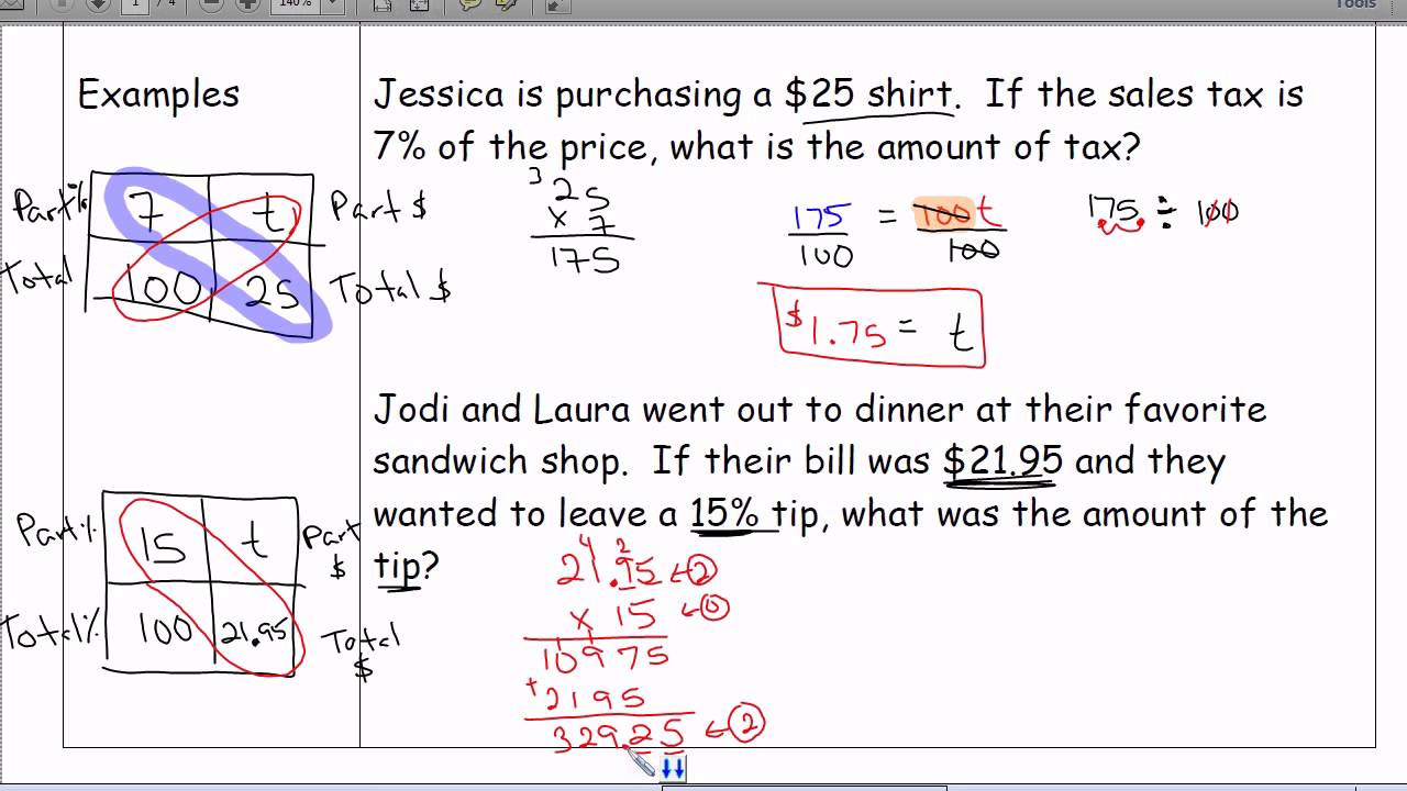 Sales Tax Worksheet 7th Grade Tax Tip & Discount