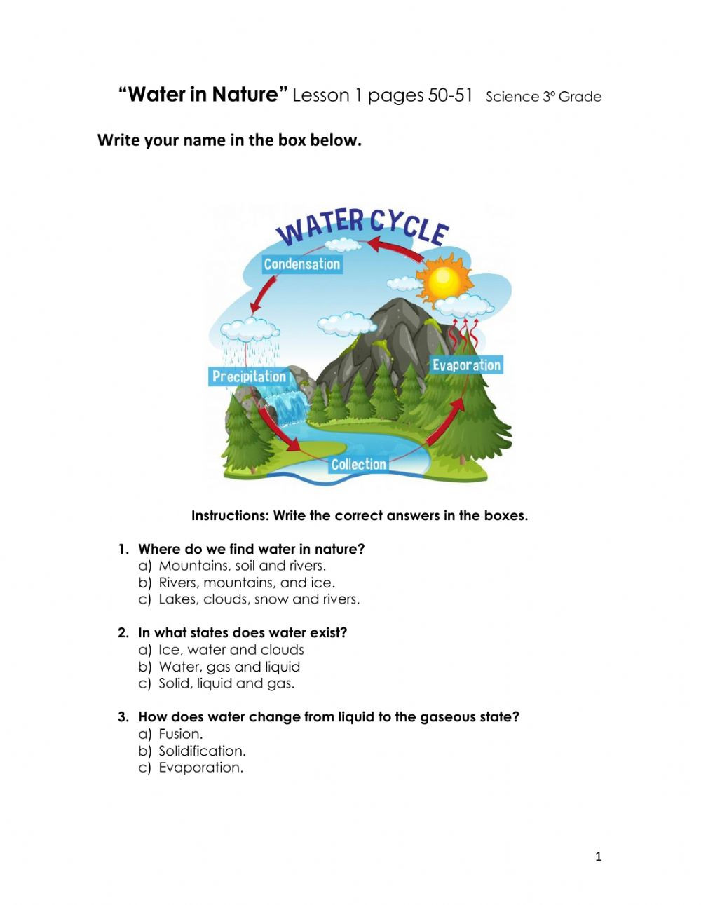 Science Fusion Grade 3 Worksheets Water In Nature 3º Grade Interactive Worksheet