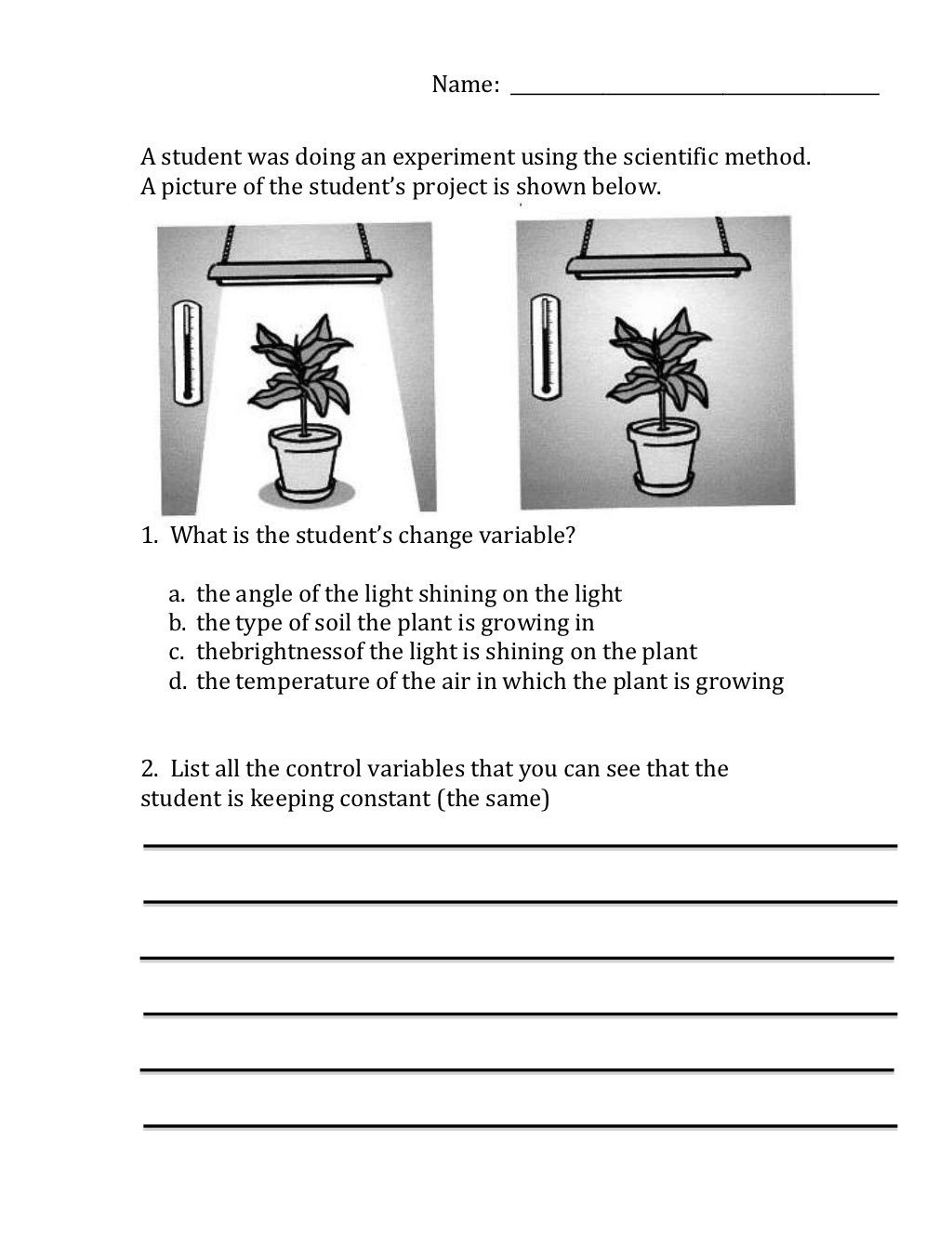 Scientific Method Worksheet 5th Grade Scientific Method Variables Worksheet by Moira Whitehouse