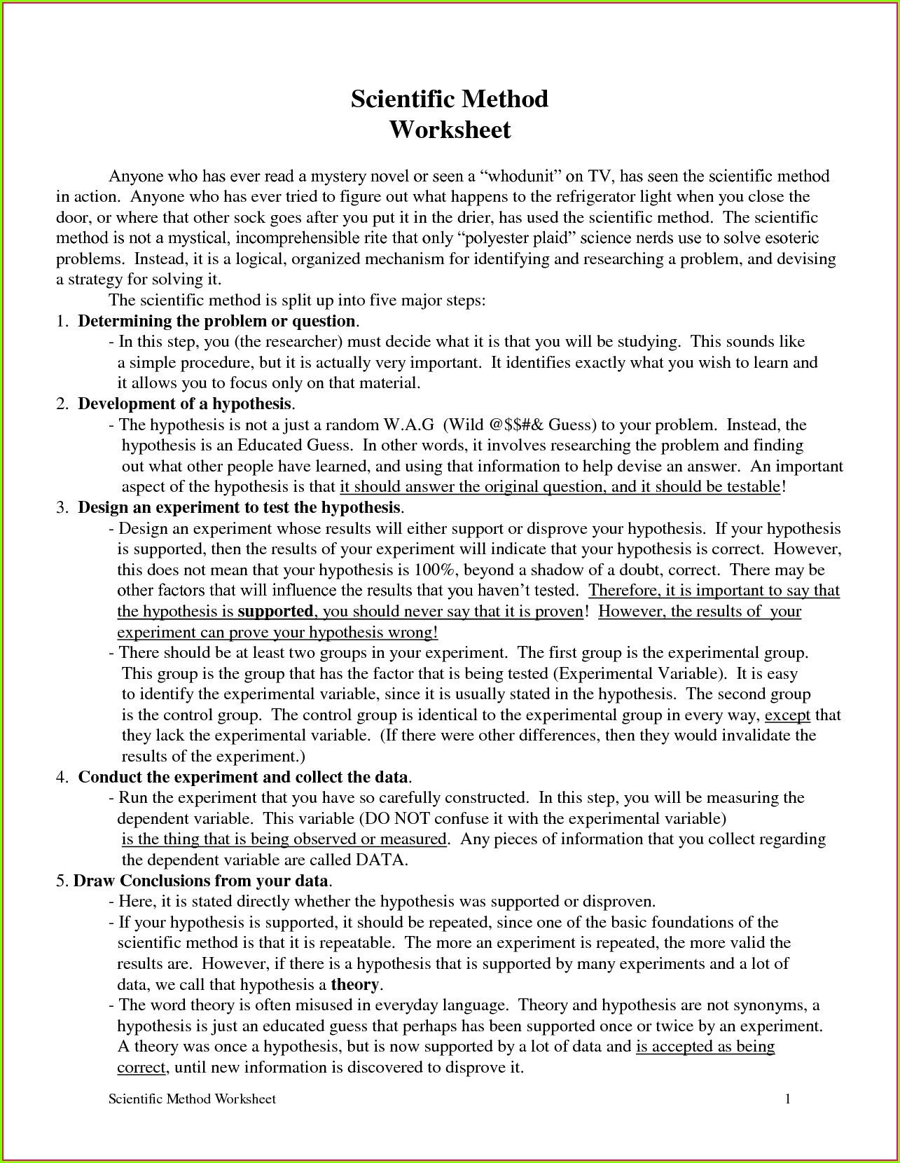 Scientific Method Worksheets High School Exploring the Scientific Method Worksheet