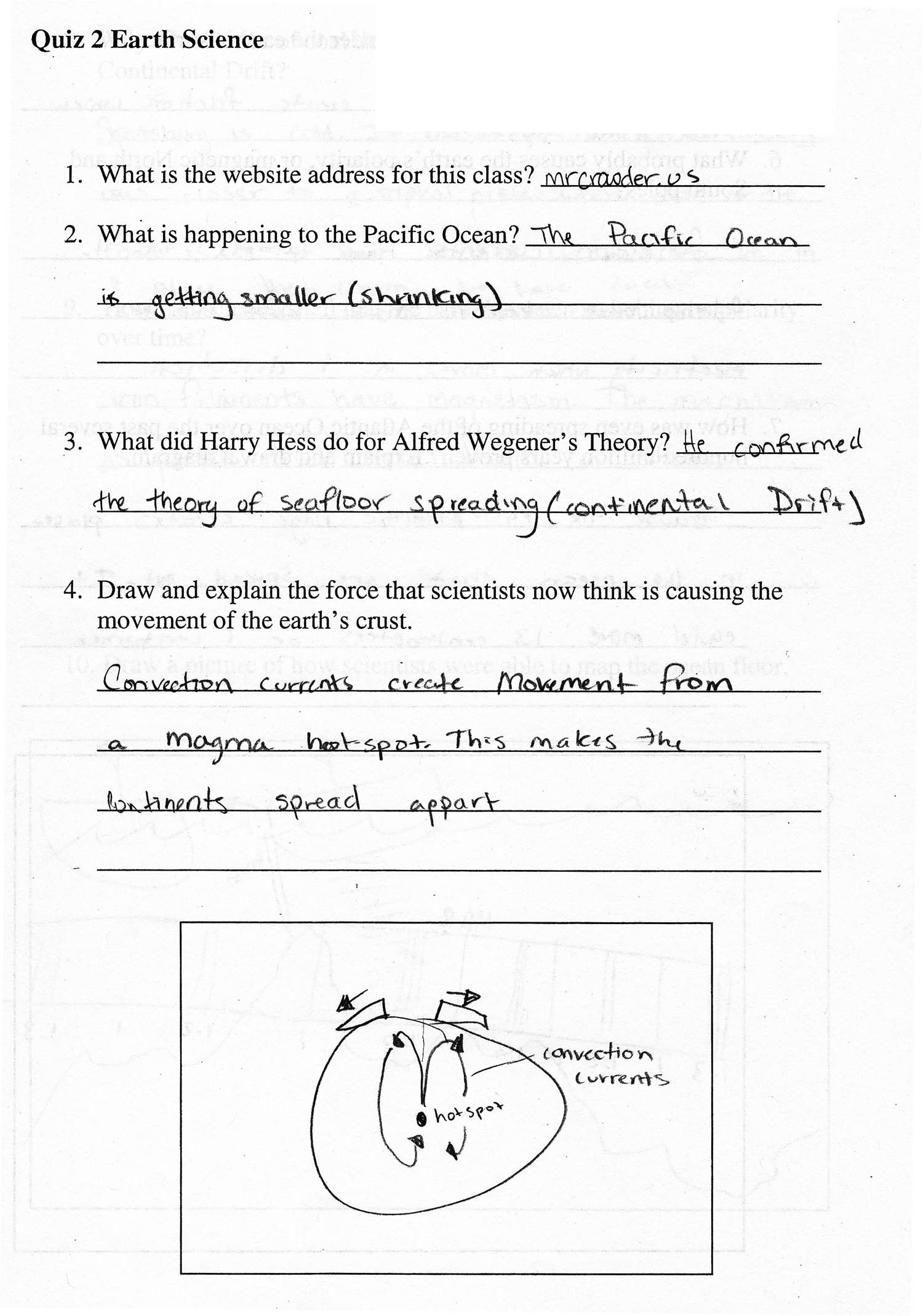 Sea Floor Spreading Worksheet 2011 1st Quarter assignments 8th Grade Earth Science