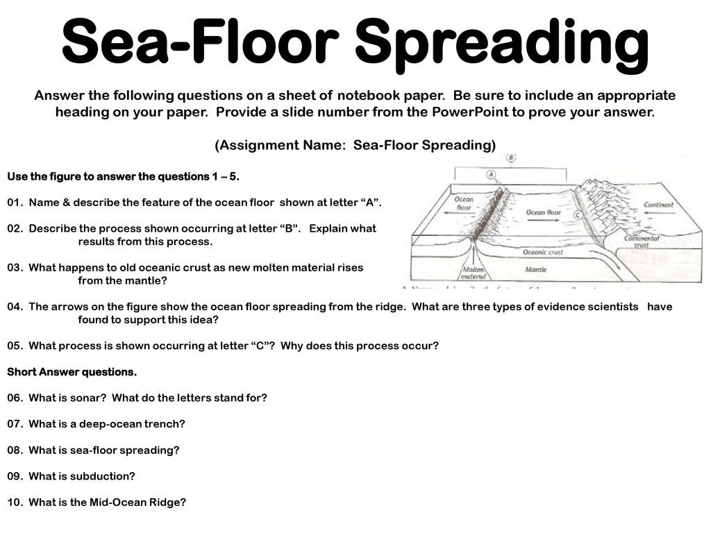 Sea Floor Spreading Worksheet Earth S Interior Image Ppt