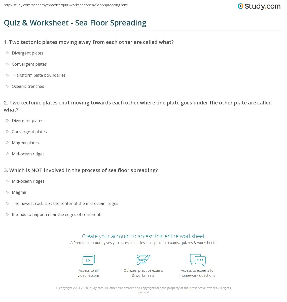 Sea Floor Spreading Worksheet Quiz & Worksheet Sea Floor Spreading