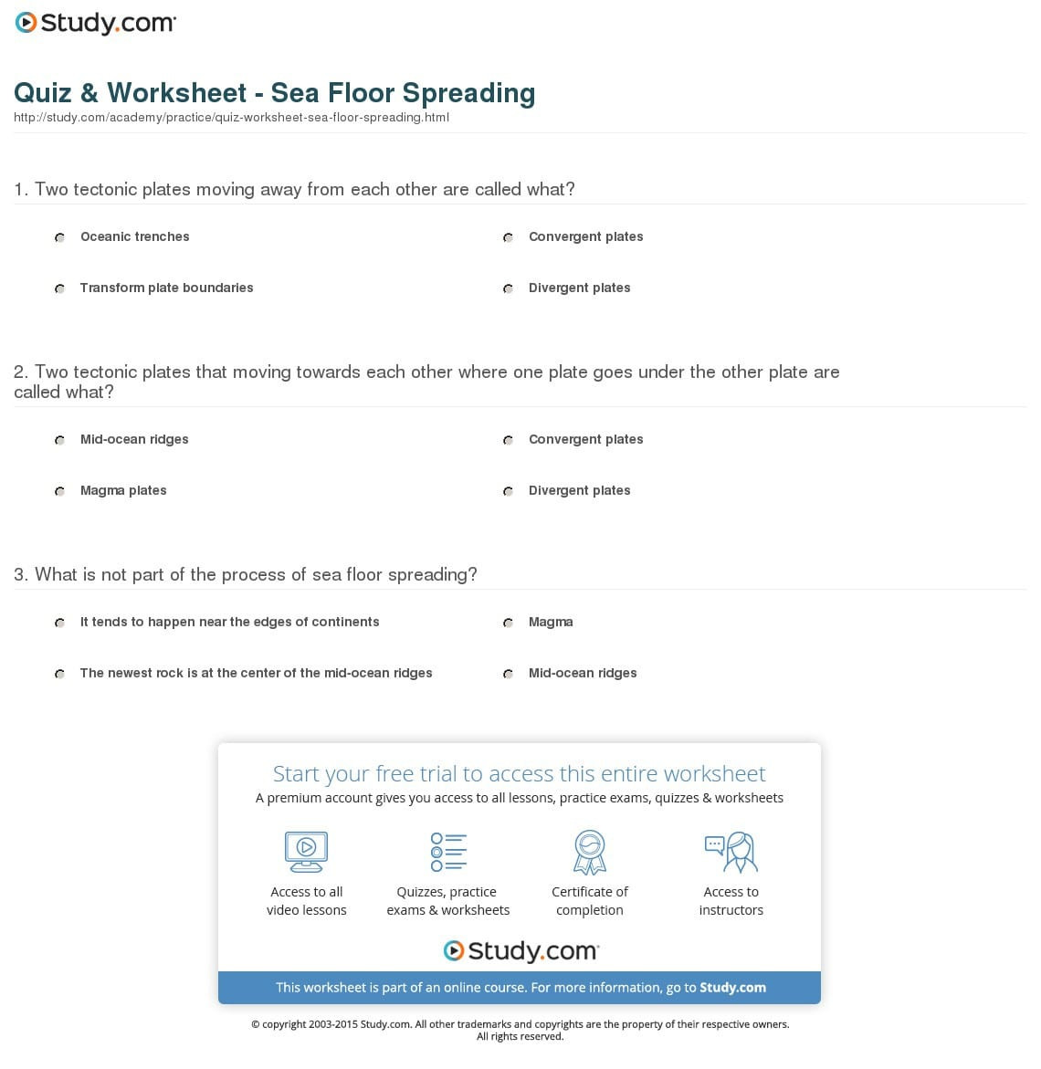 Sea Floor Spreading Worksheet Sea Floor Worksheet