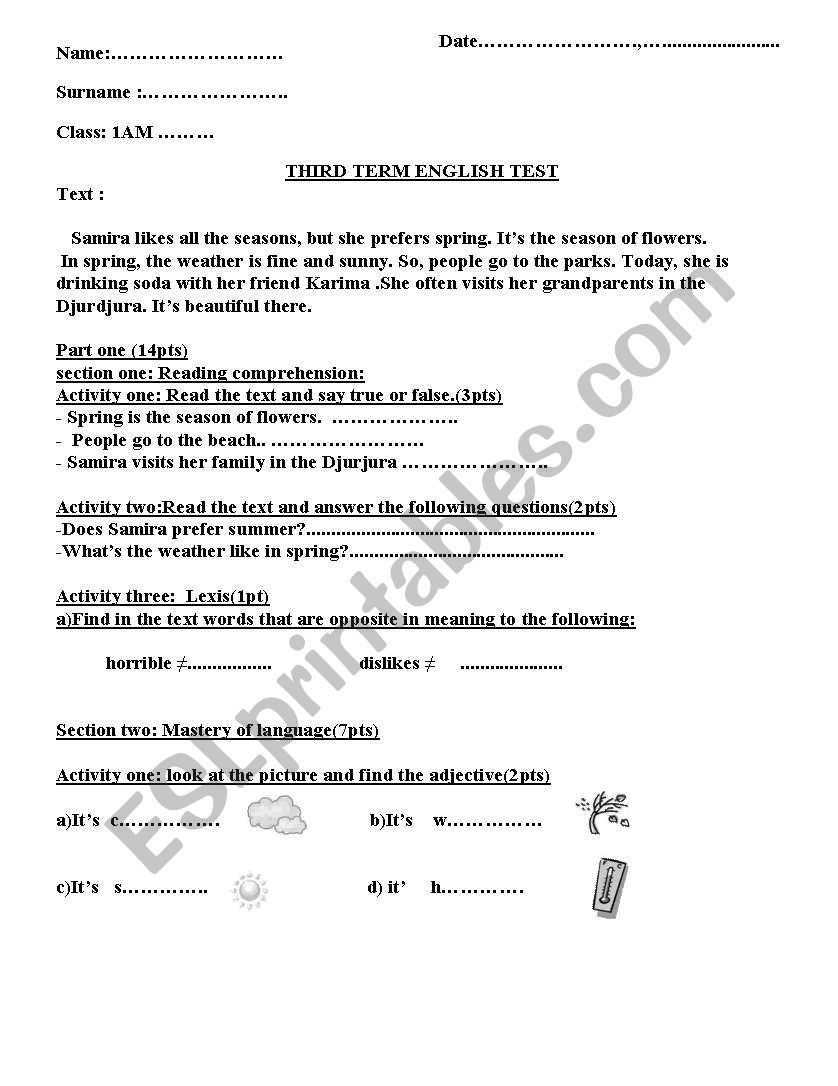 Seasons Worksheet Middle School English Worksheets the Four Seasons