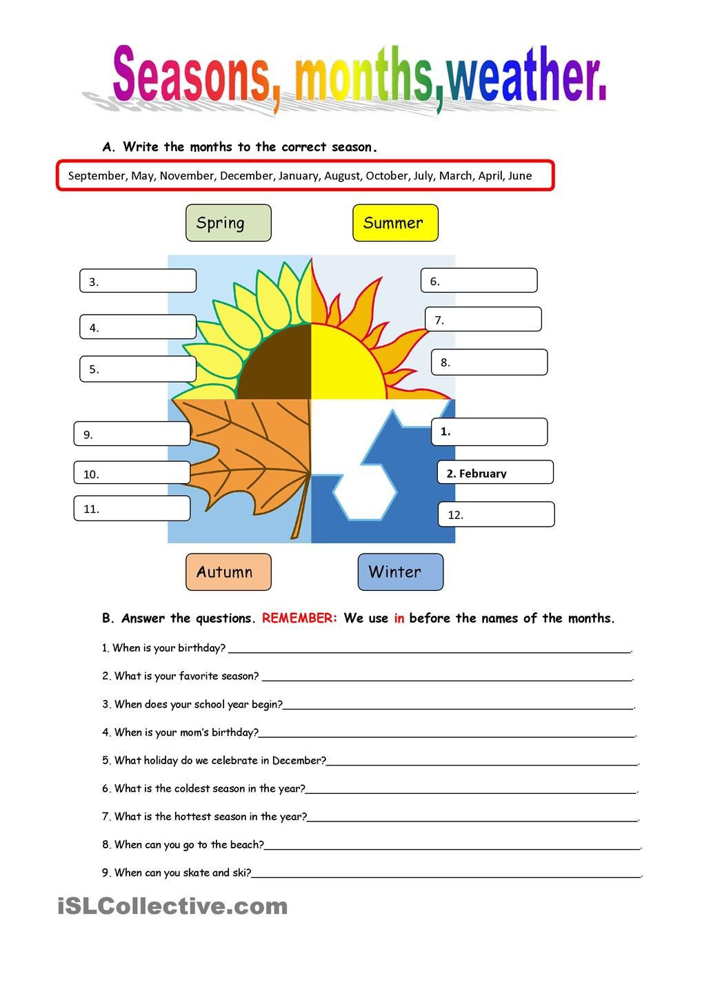 Seasons Worksheet Middle School Seasons and Weather