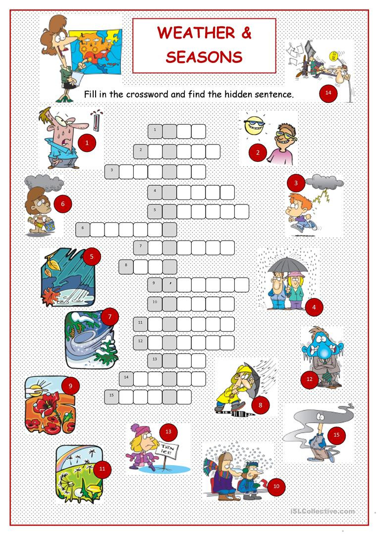 Seasons Worksheet Middle School Weather & Seasons Crossword English Esl Worksheets for
