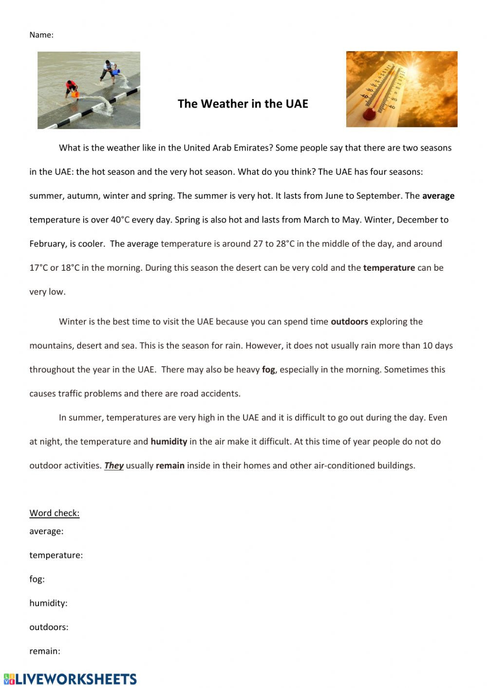 Seasons Worksheet Middle School Weather In the Uae Interactive Worksheet