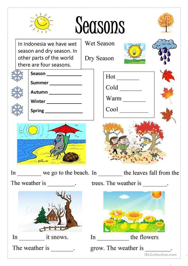 Seasons Worksheets for First Grade English Esl Seasons Worksheets Most Ed 260 Results