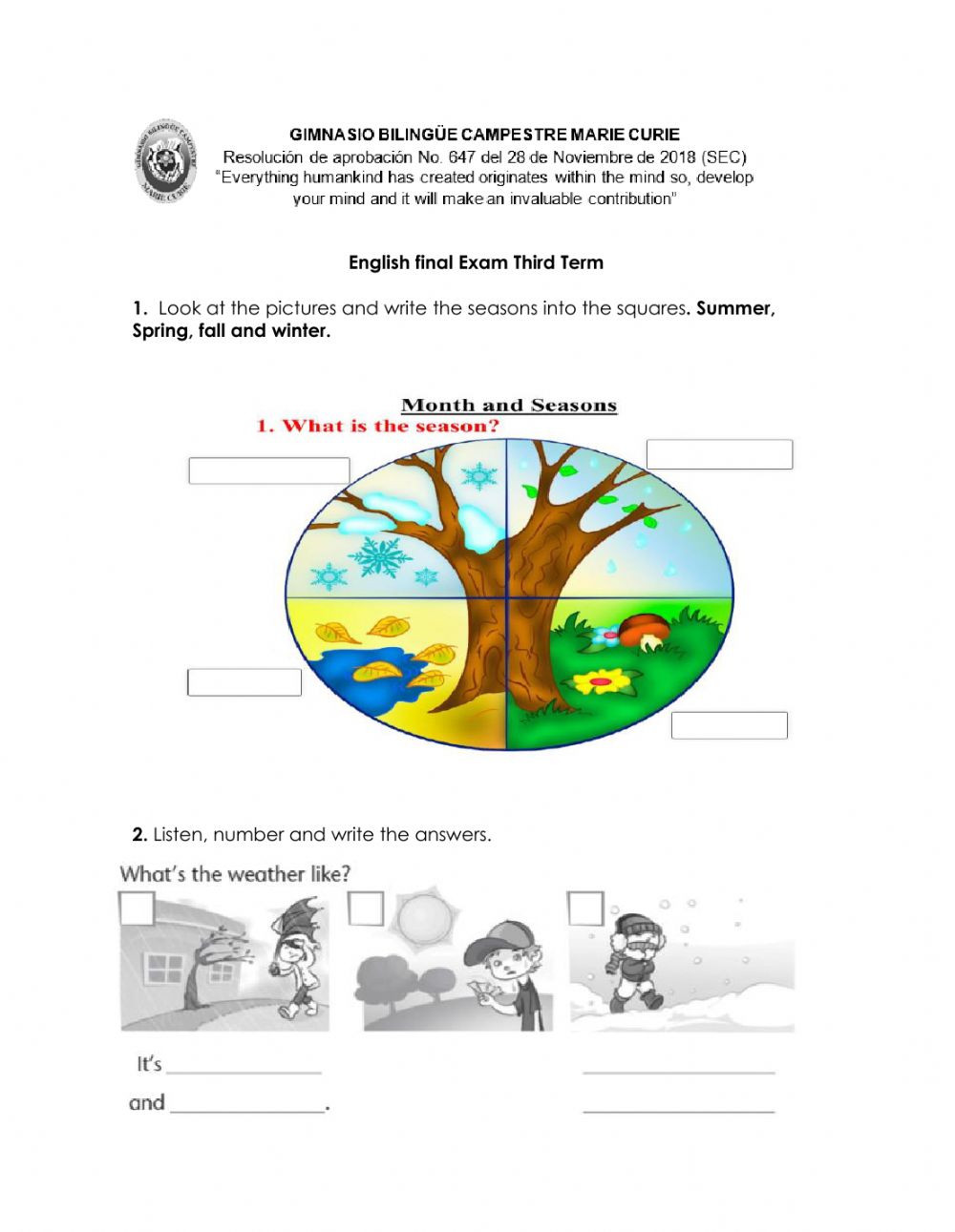 Seasons Worksheets for First Grade English Final Exam First Grade Interactive Worksheet