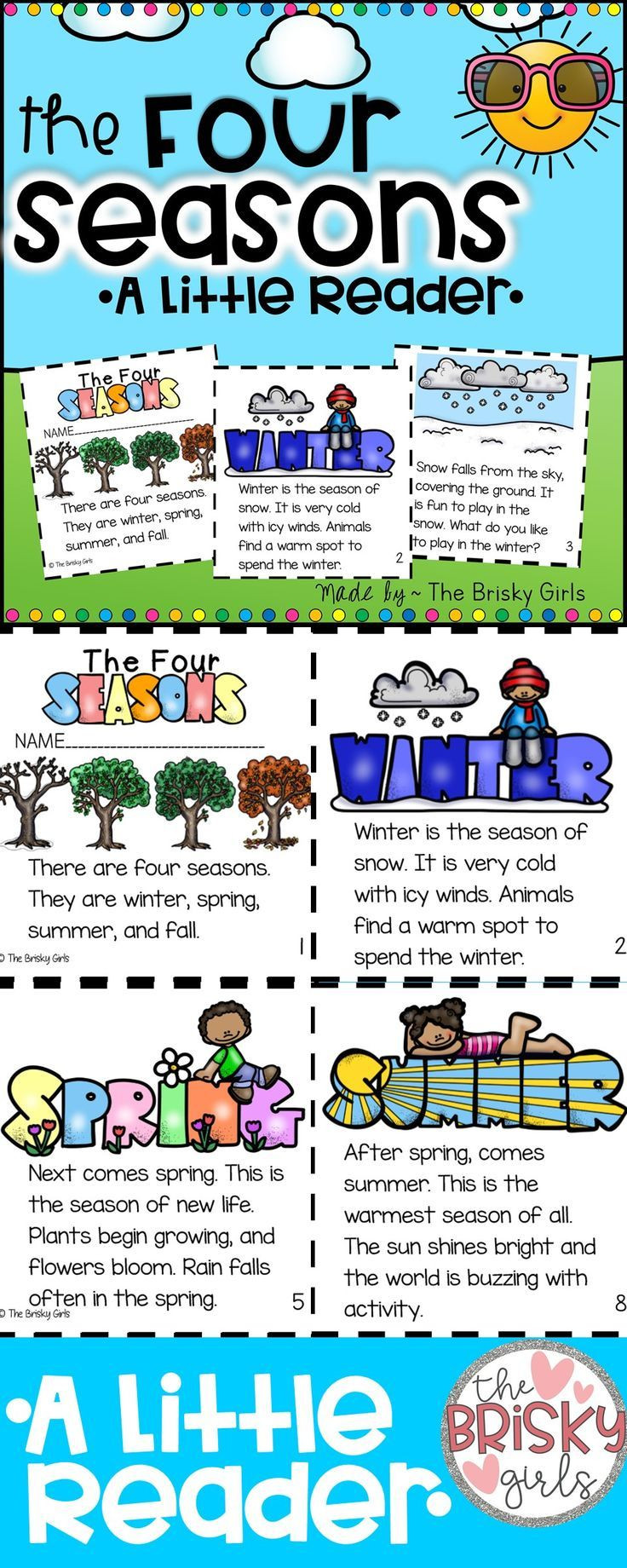 Seasons Worksheets for First Grade the Four Seasons Reader with Images