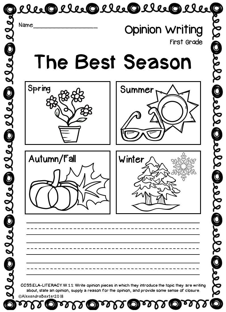 Seasons Worksheets for First Grade Worksheet First Grade Opinion Writing Promptsworksheets