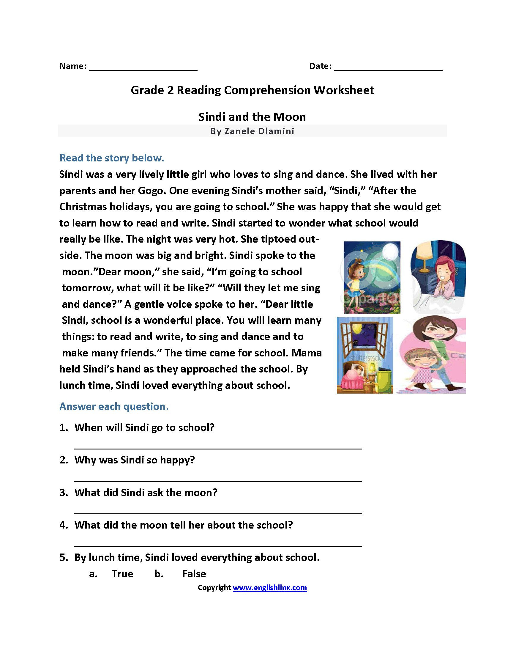 Second Grade Reading Comprehension Worksheets Reading Exercises for 2nd Graders