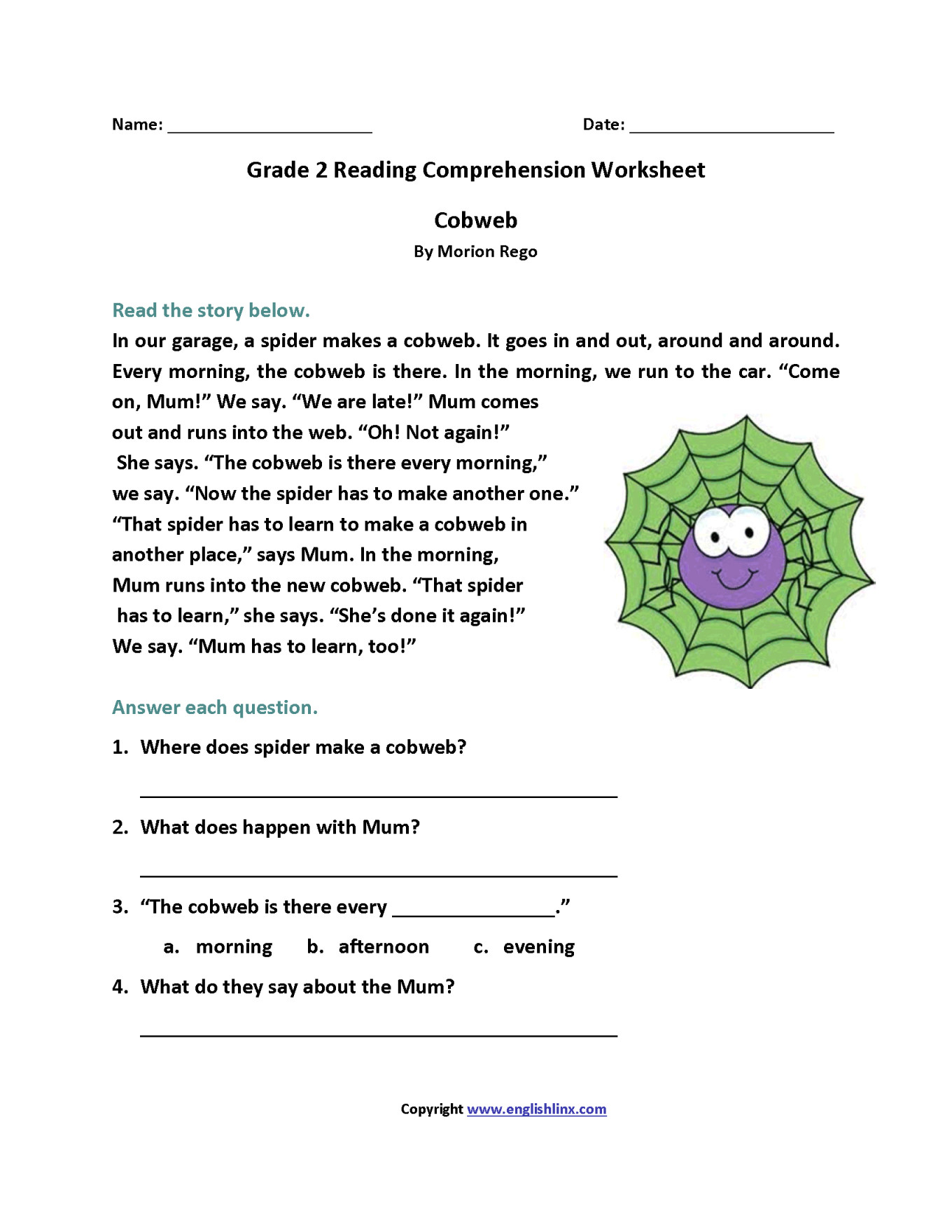 Second Grade Reading Comprehension Worksheets Reading Receipts Worksheets