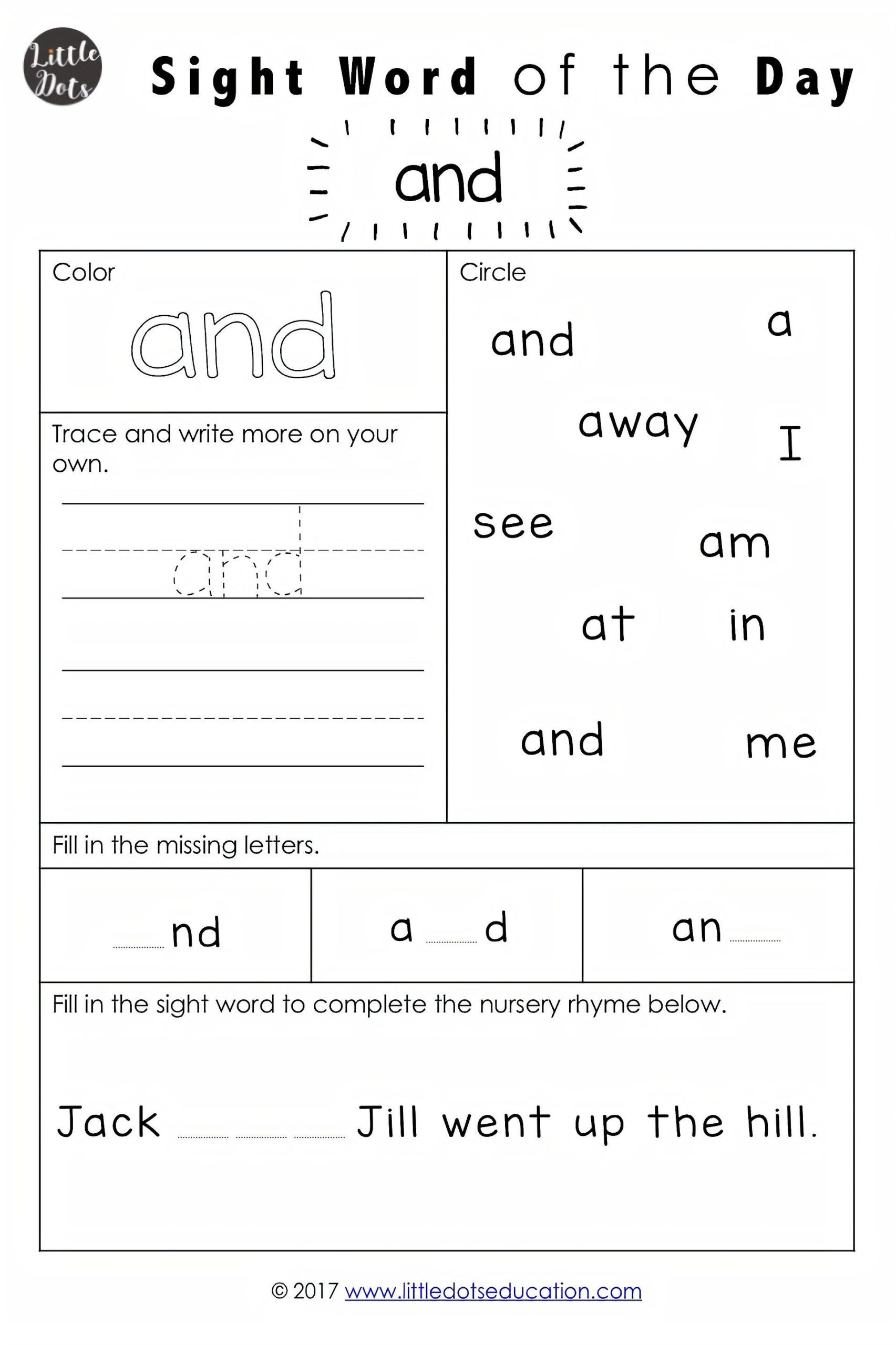 Second Grade Sight Words Worksheets Dolch Pre Primer Sight Words Activities with Word