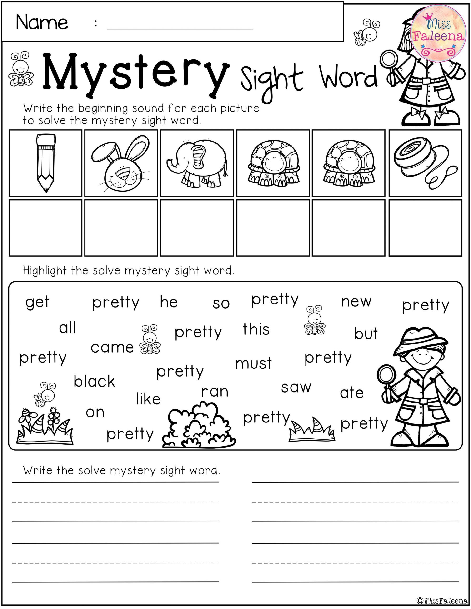 Second Grade Sight Words Worksheets there are 10 Pages Of Mystery Sight Word Practice Worksheets