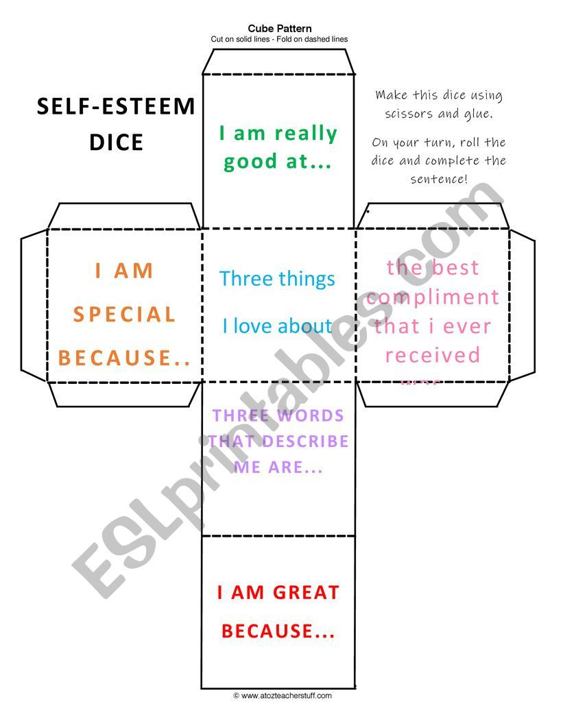 Self Esteem Printable Worksheets Self Esteem Dice Esl Worksheet by toriw