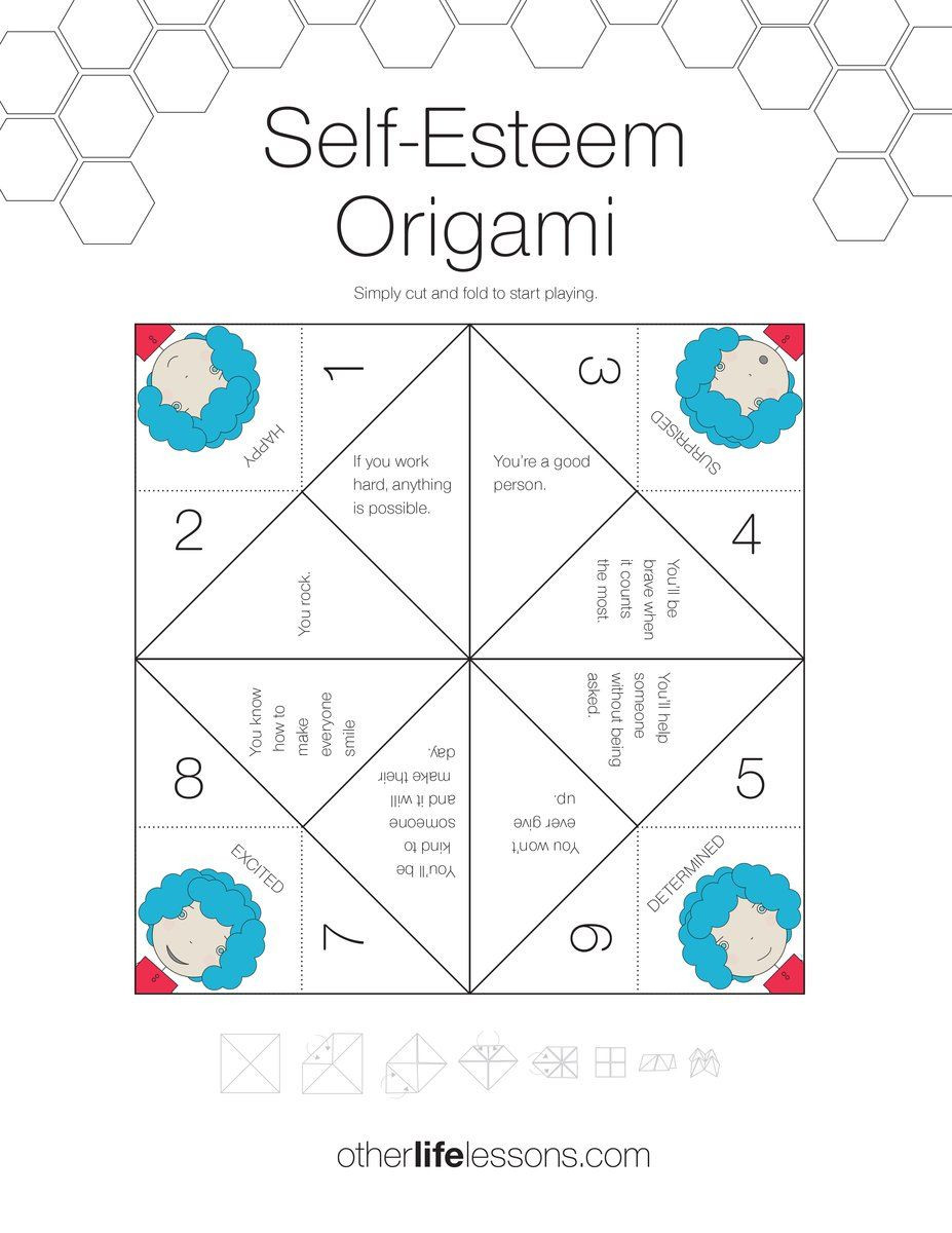 Self Esteem Printable Worksheets Self Esteem origami Game Free Printable In 2020
