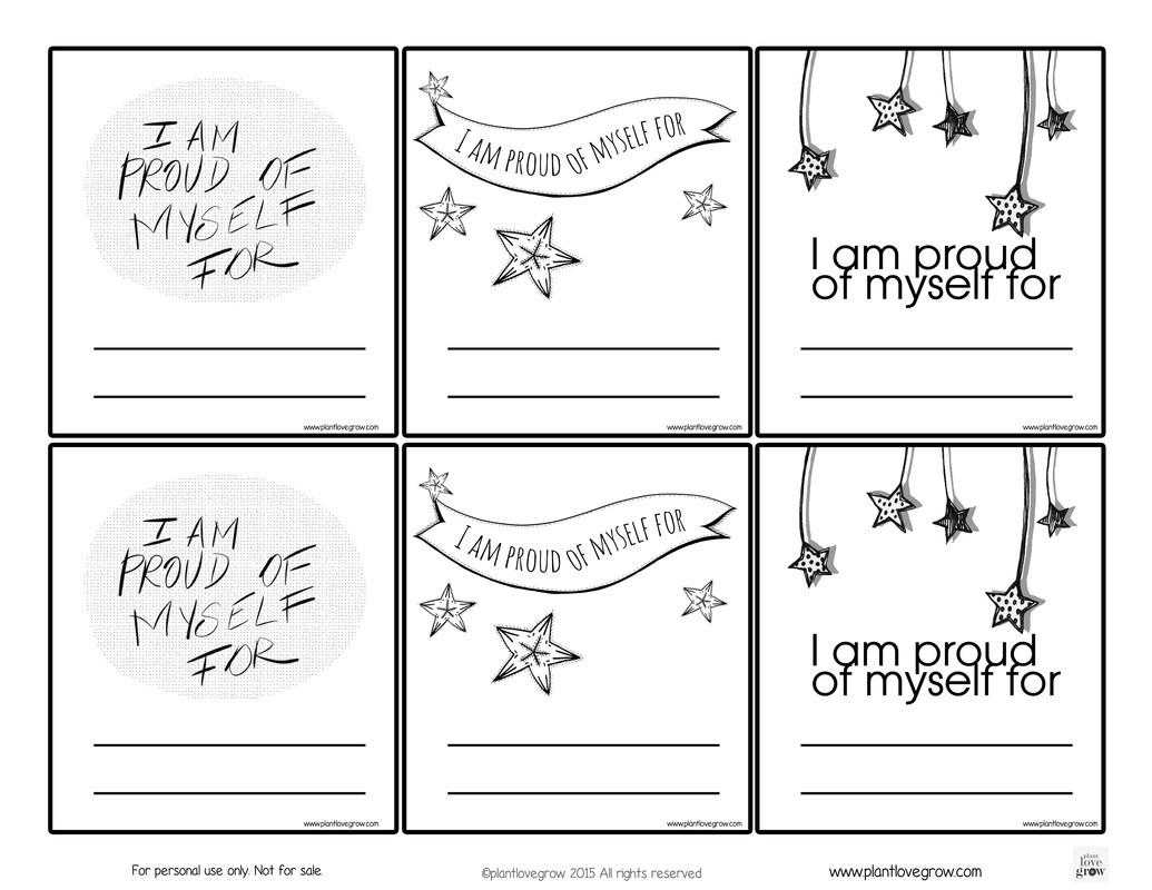 Self Esteem Printable Worksheets Self Esteem Plant Love Grown