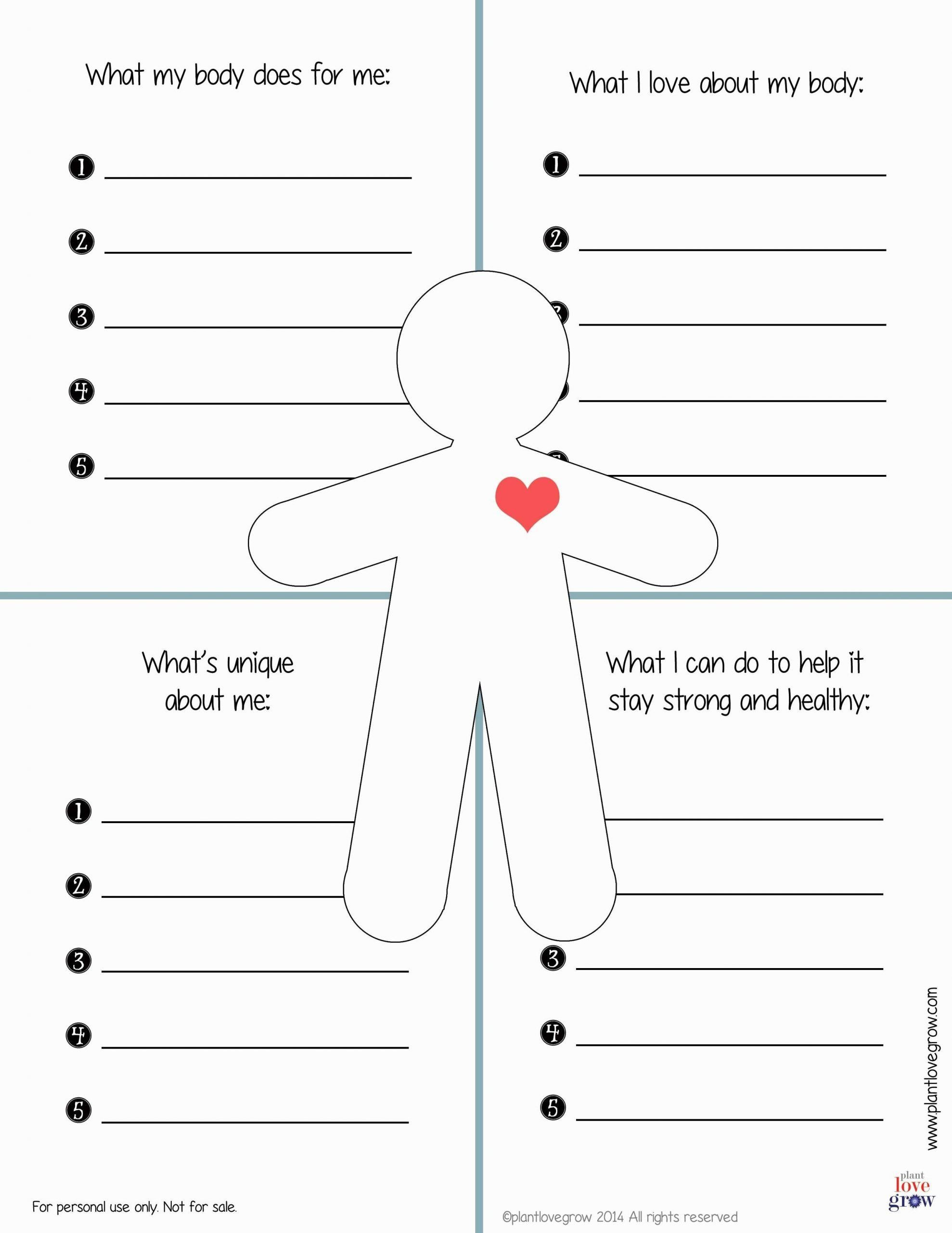 Self Esteem Printable Worksheets Improving Self Esteem