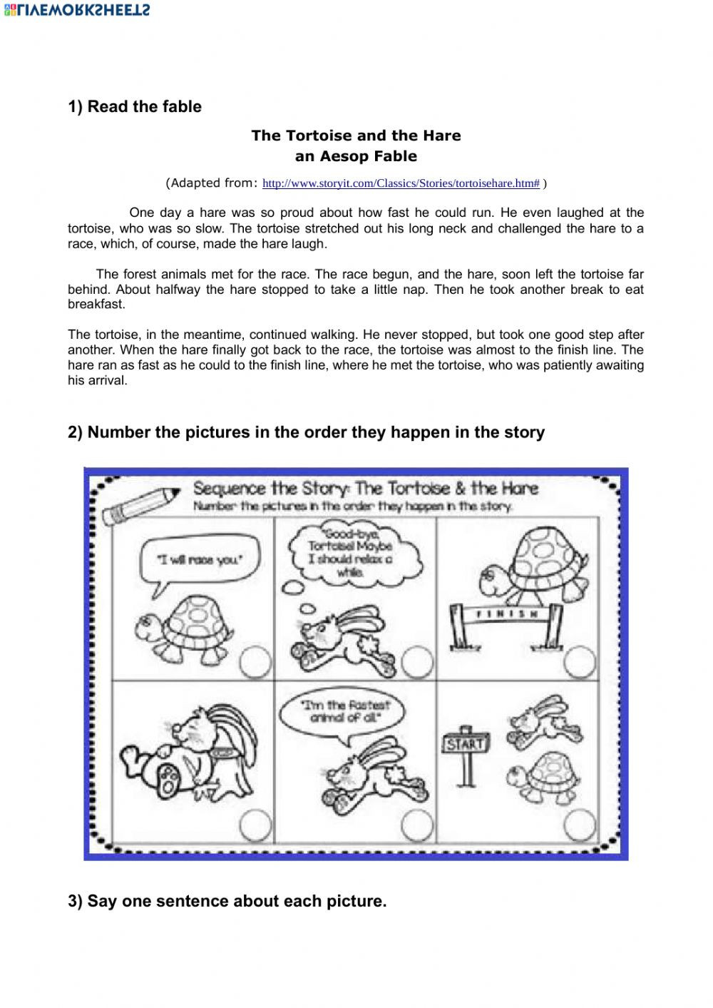 Sequence Worksheets 4th Grade the tortoise and the Hare Picture Sequencing Interactive