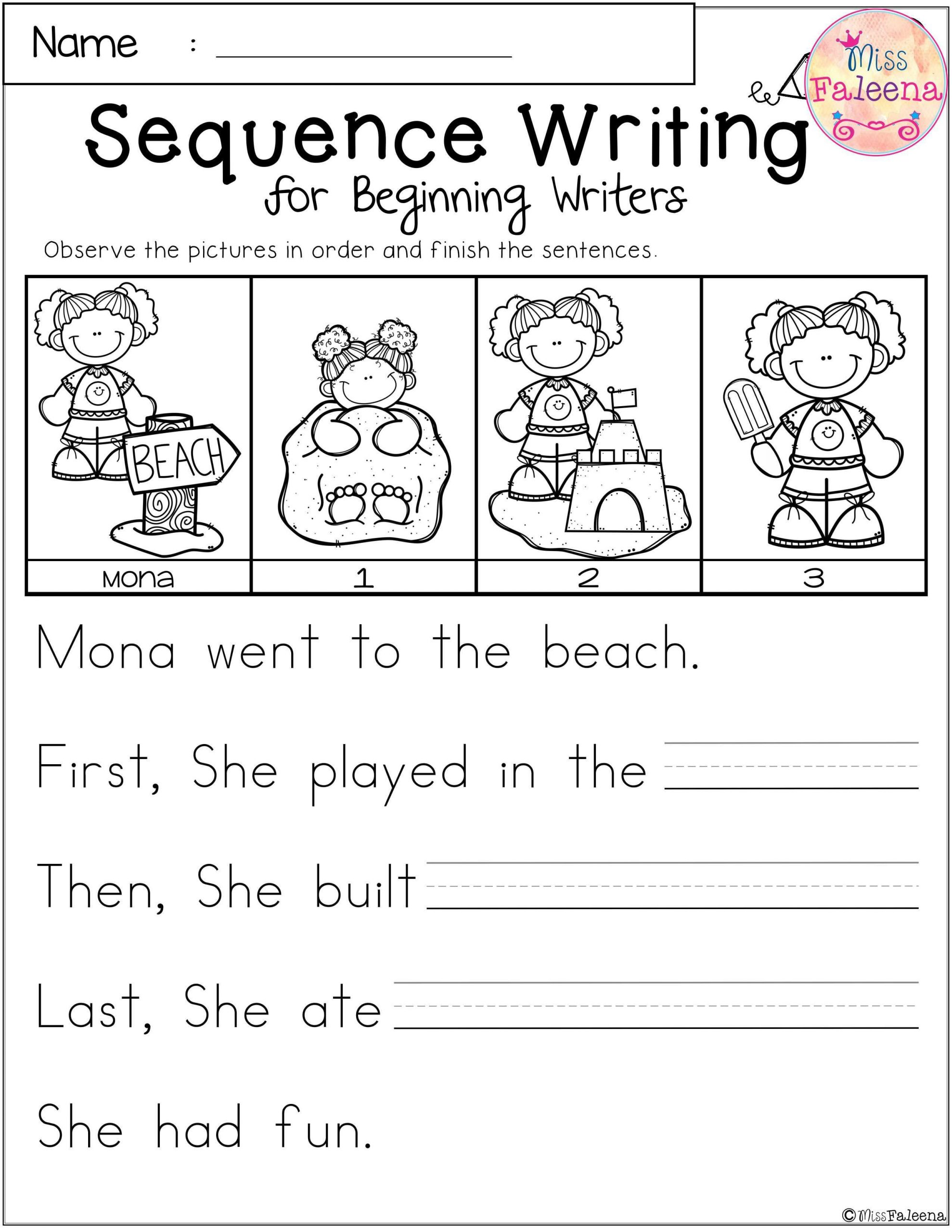 Sequencing Worksheets for 1st Grade Free Sequence Writing for Beginning Writers