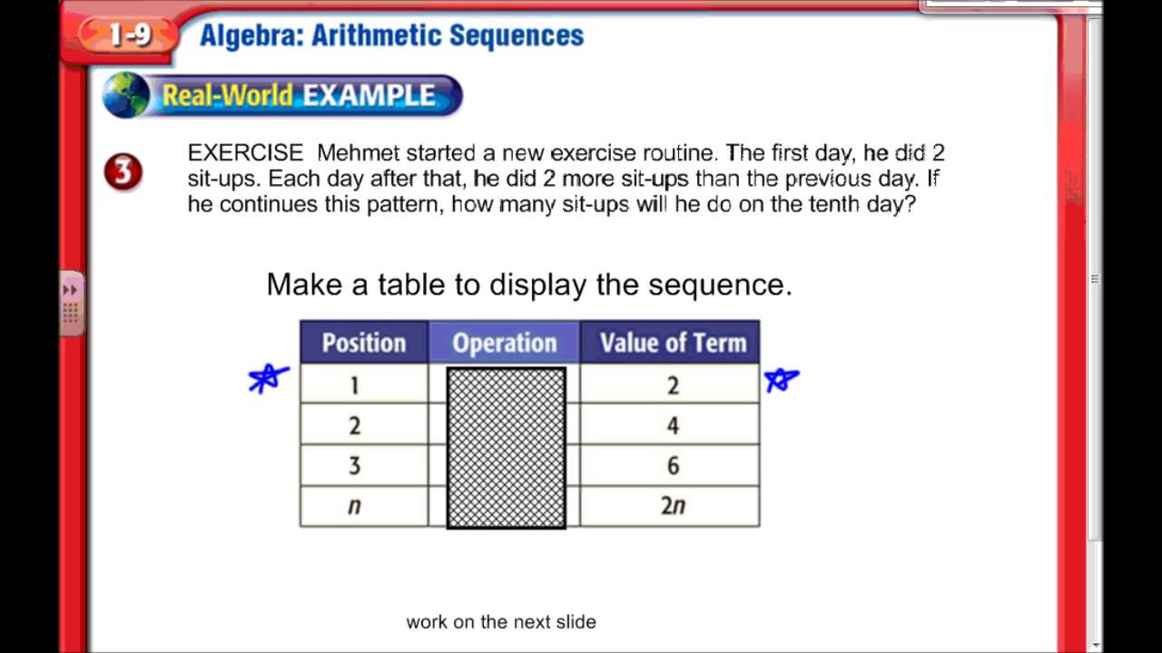 Sequencing Worksheets for Middle School Arithmetic Sequences Middle School Math