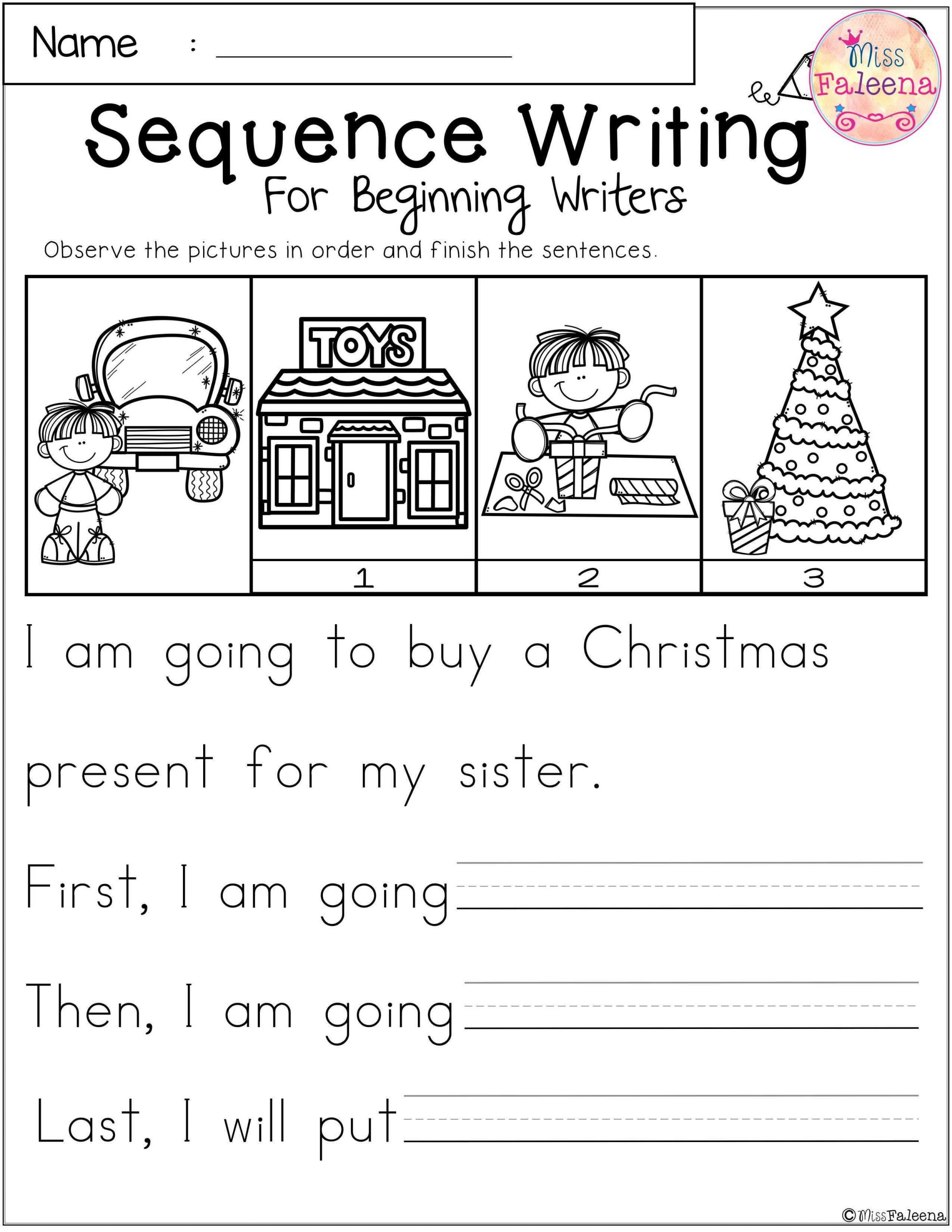 Sequencing Worksheets for Middle School December Sequence Writing for Beginning Writers