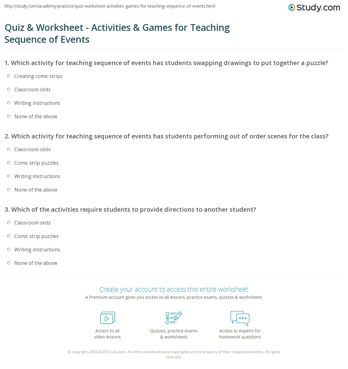 Sequencing Worksheets for Middle School Quiz & Worksheet Activities & Games for Teaching Sequence
