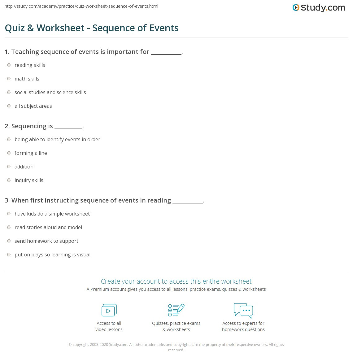 Sequencing Worksheets for Middle School Quiz & Worksheet Sequence Of events