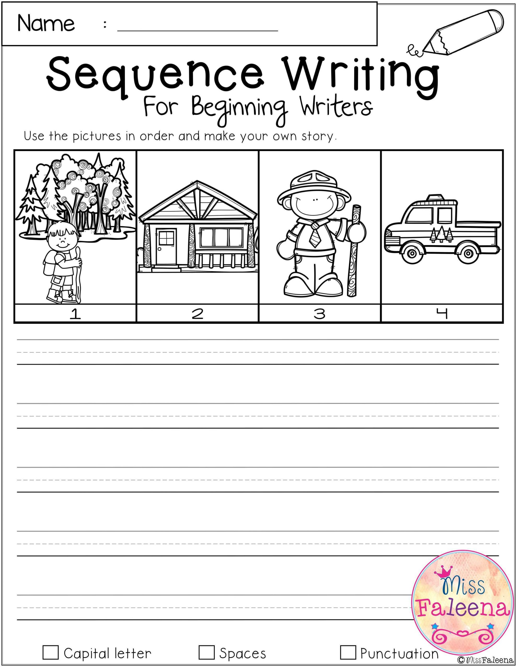 Sequencing Worksheets for Middle School September Sequence Writing for Beginning Writers