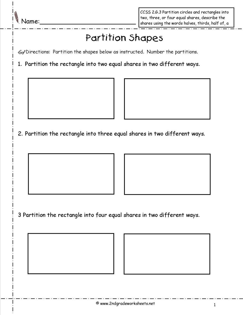 Shapes Worksheets 2nd Grade Worksheet 2nd Grade Geometry Worksheets Ccss G Partition