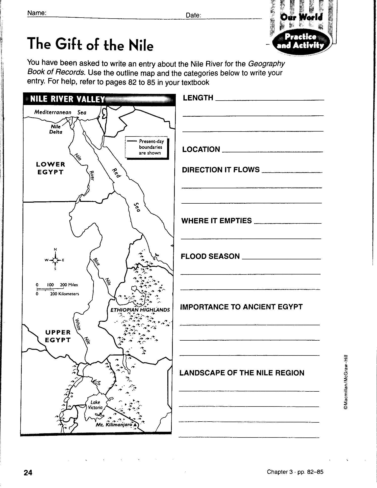 Sixth Grade social Studies Worksheets Chapter 3 Ancient Egypt