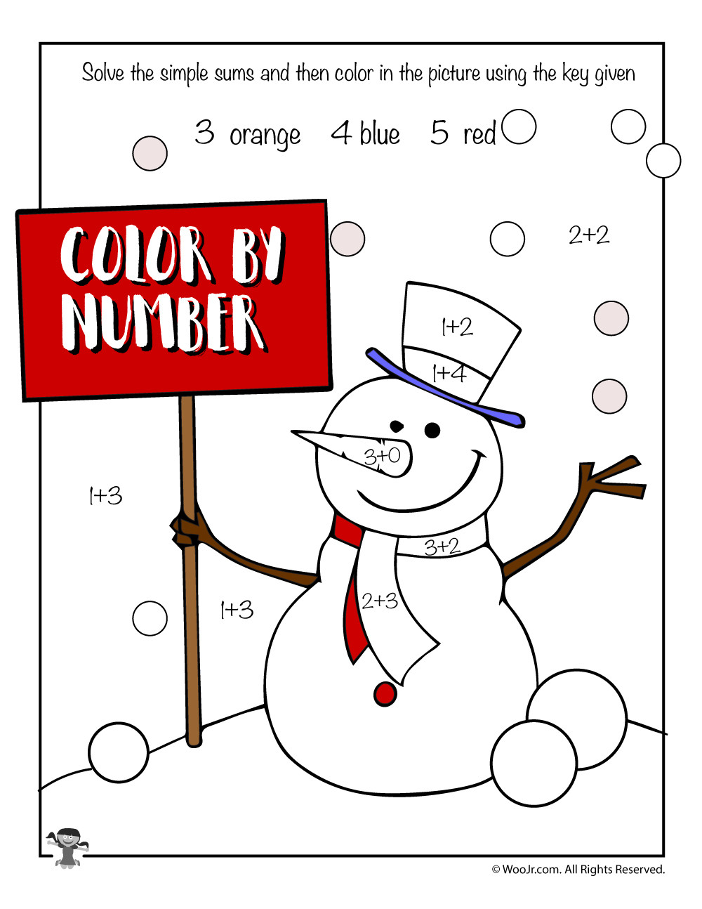 Snowman Math Worksheets Math Color by Number Snowman