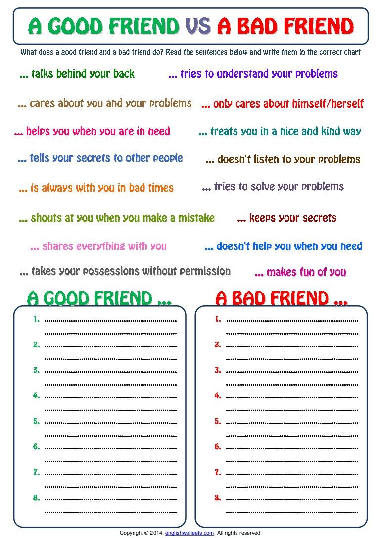 Social Skills Activities Worksheets Good Friend and Bad Friend Categorizing Exercise Worksheet