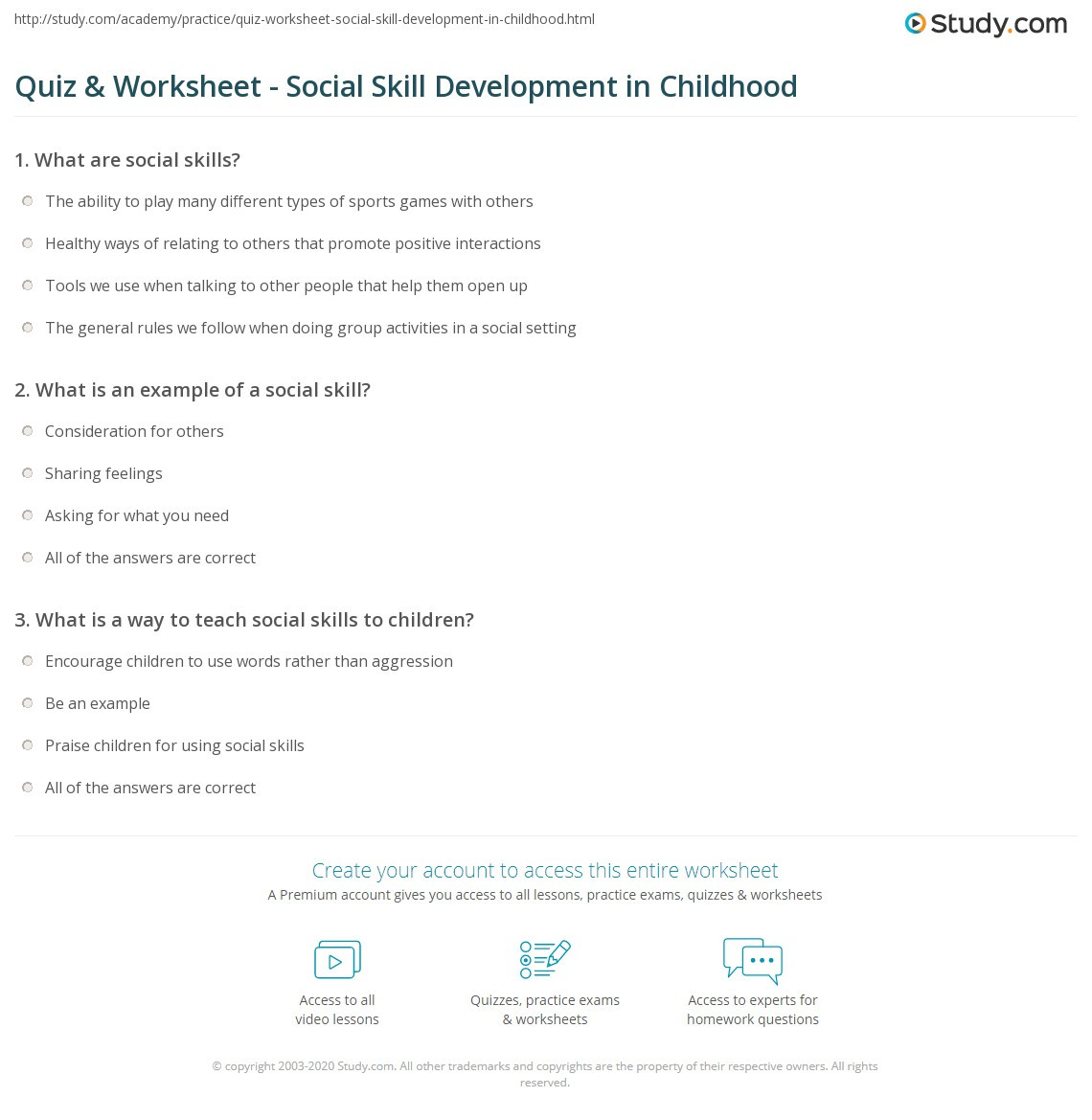 Social Skills Activities Worksheets Quiz & Worksheet social Skill Development In Childhood