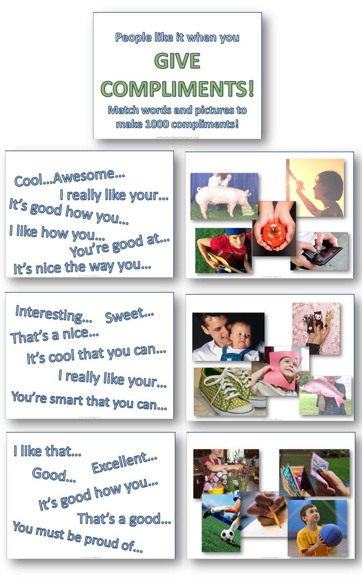 Social Skills Worksheets for Autism Helping Kids with asd to Give Pliments Picture Word